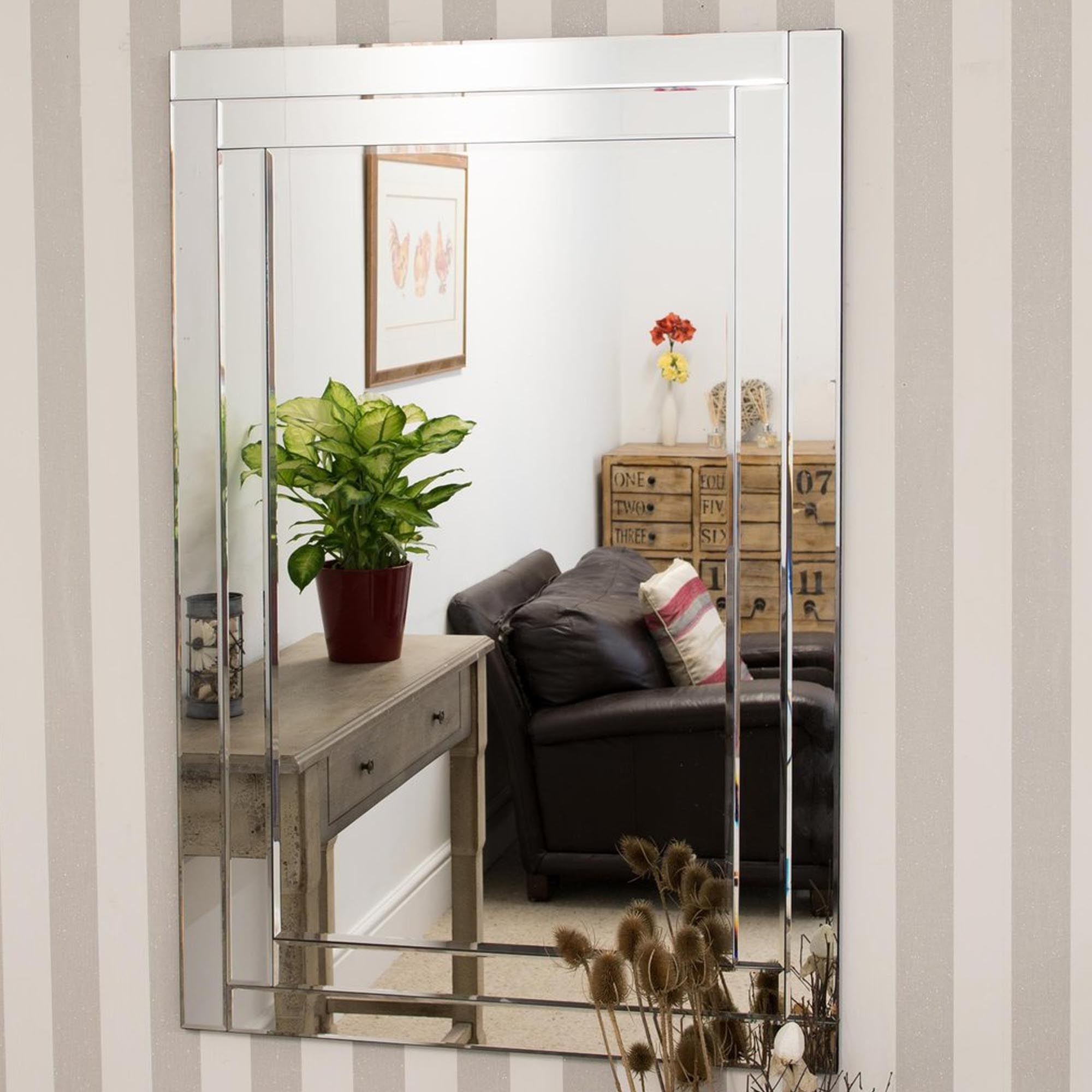 Large Bevelled Venetian Frameless Wall Mirror For Fashionable Frameless Large Wall Mirrors (Gallery 6 of 20)