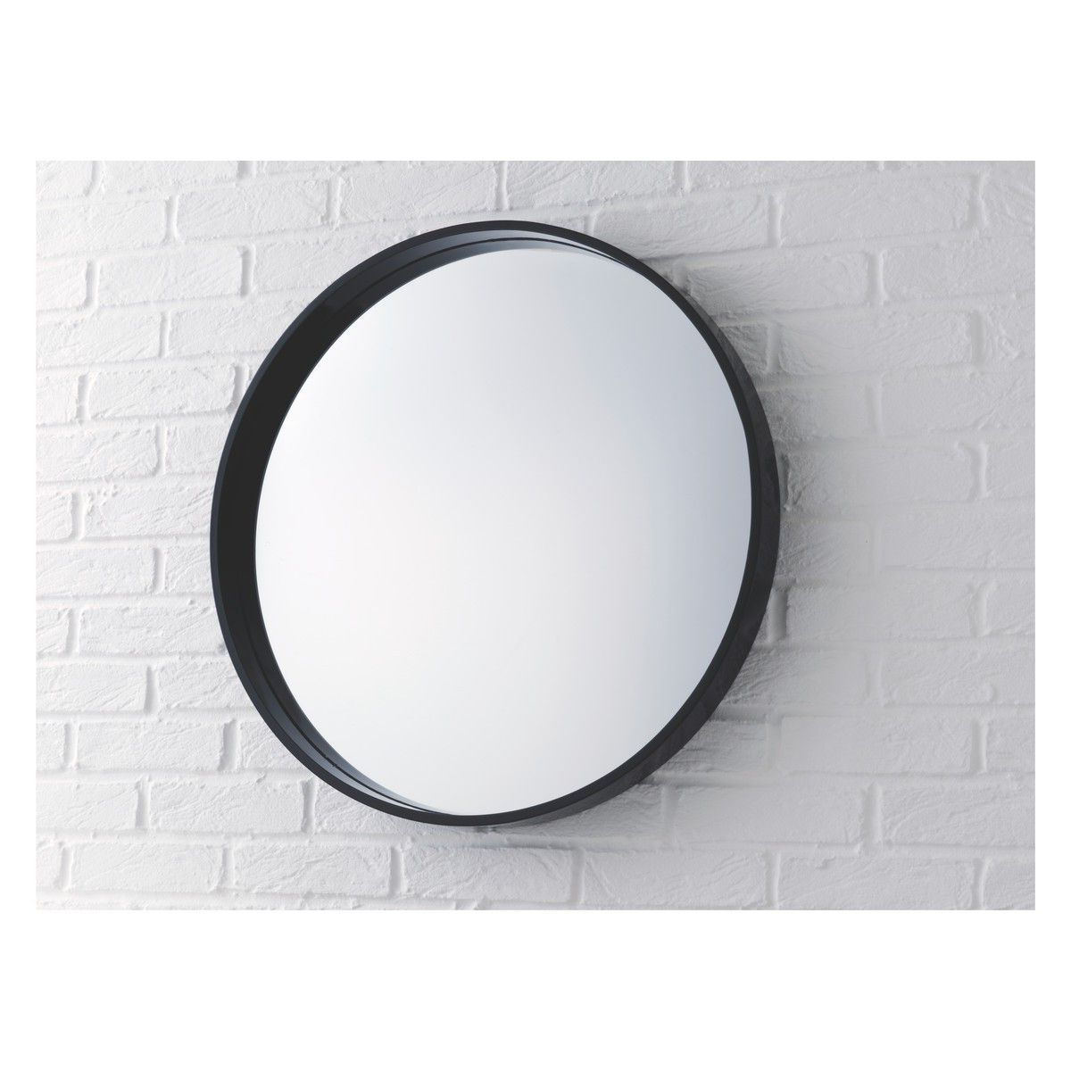 Large Black Framed Wall Mirrors In Most Current Aimee Black High Gloss Round Wall Mirror D65cm (View 15 of 20)