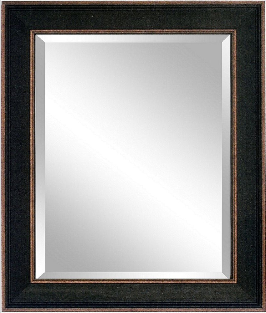 Large Black Framed Wall Mirrors Regarding Famous 42x30 Vintage New Rustic Black Framed Beveled Mirror, Wood, Large (View 7 of 20)