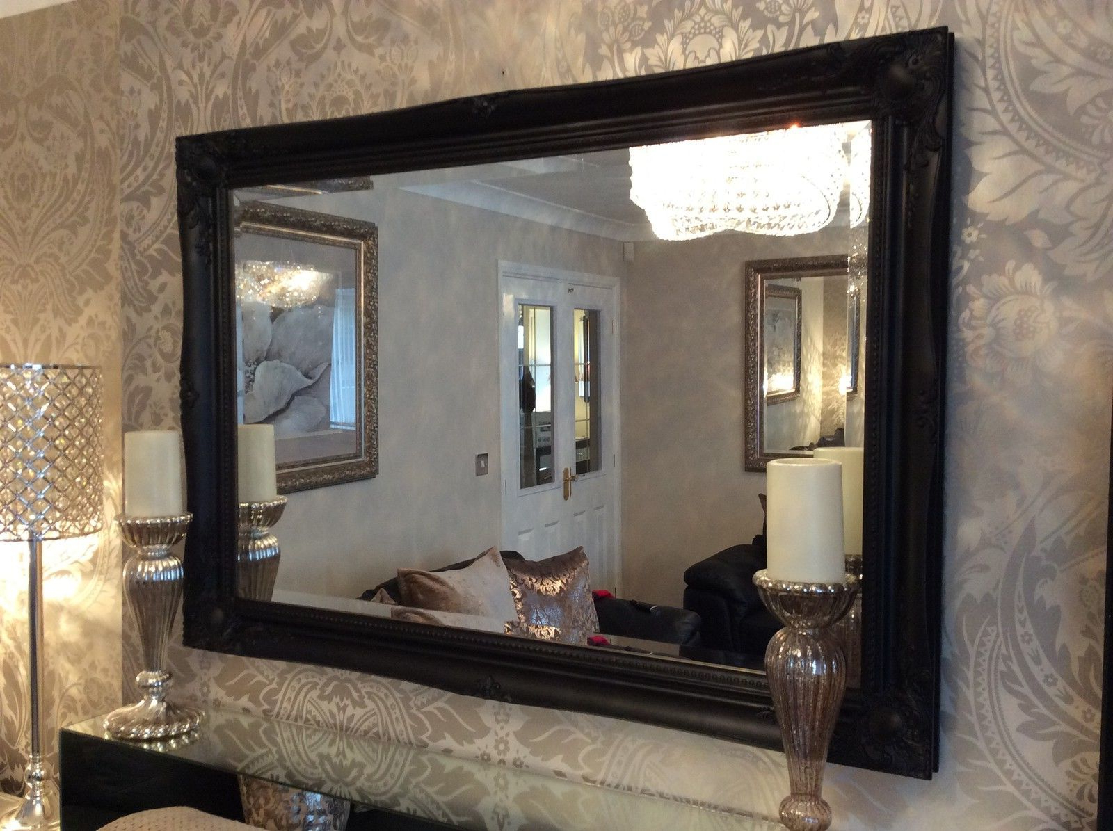 Large Black Stunning Decorative Swept Wall Mirror – Bevelled Glass *new* For Fashionable Large Black Framed Wall Mirrors (View 2 of 20)