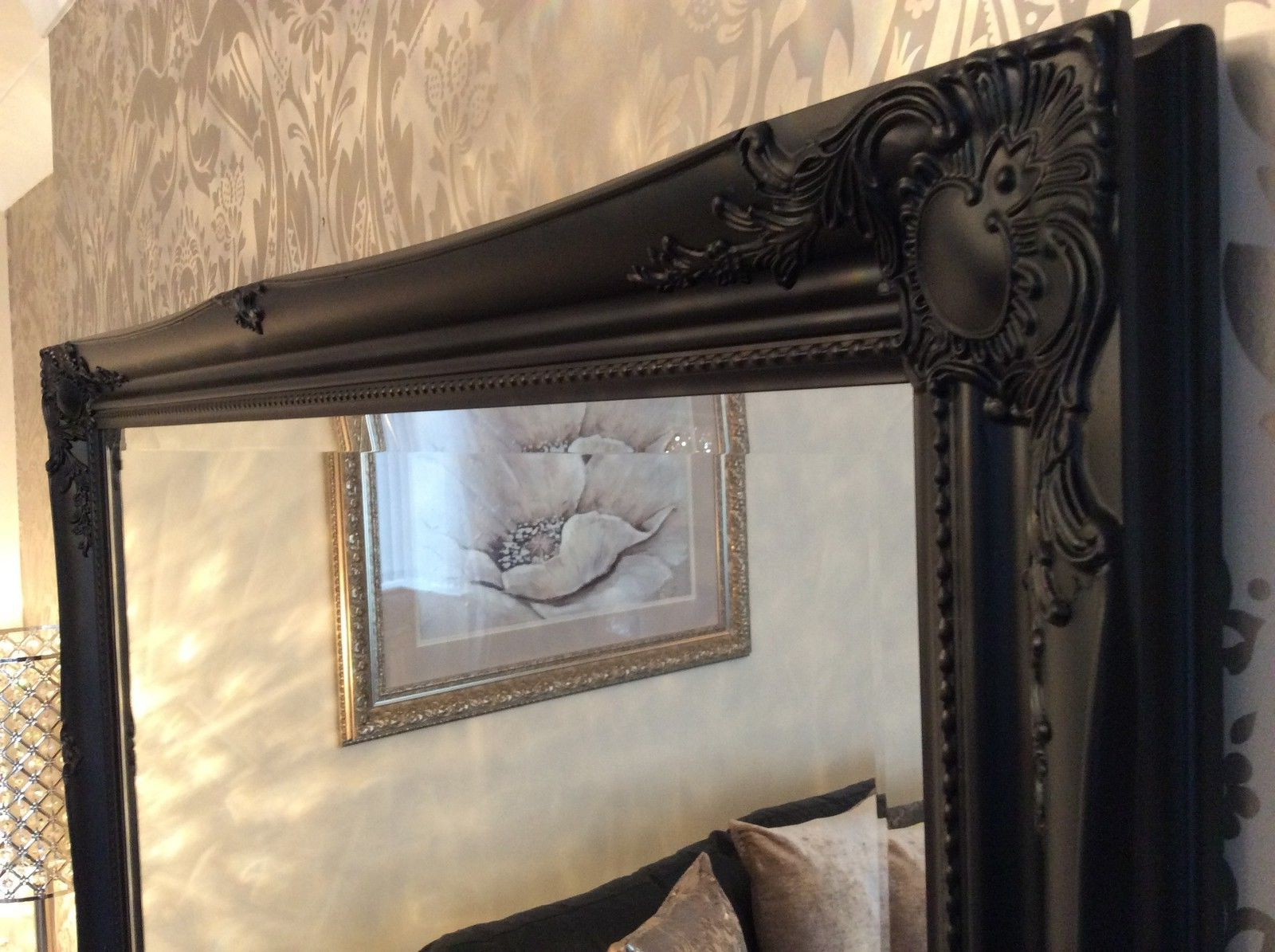 Large Black Wall Mirrors With Latest Large Black Stunning Decorative Swept Wall Mirror – Bevelled Glass *new* (Gallery 8 of 20)