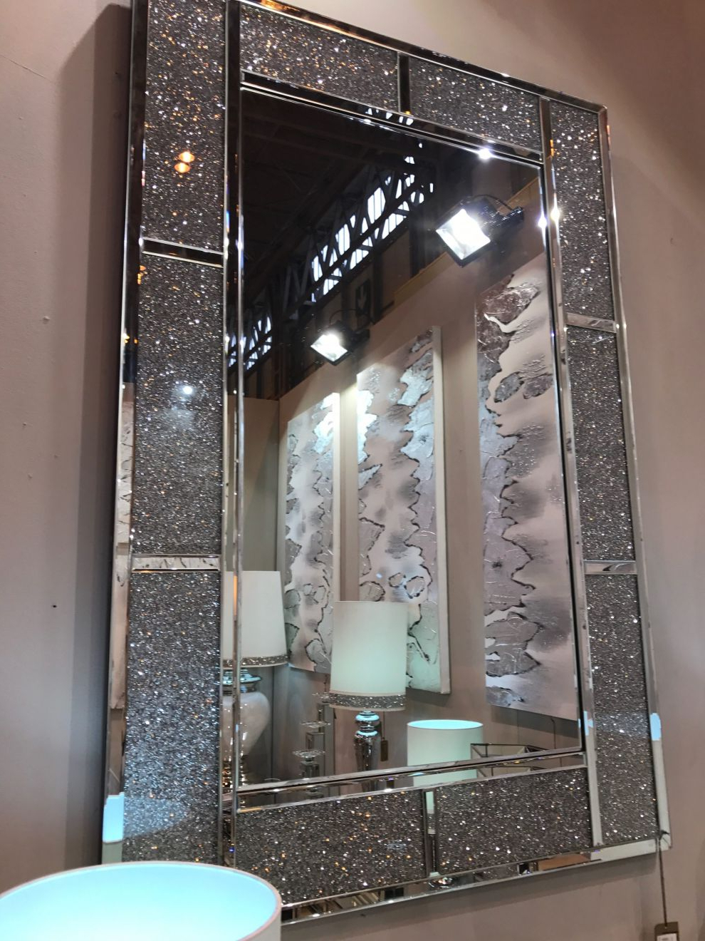 Large Crushed Crystal Mirror Brick Effect Oblong Wall Mirror Inside Favorite Crystal Wall Mirrors (View 8 of 20)