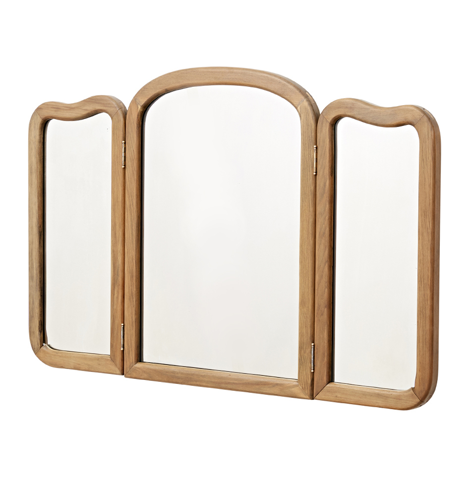 Large Curvy Wood Framed Tri Fold Wall Mirror Regarding Newest Tri Fold Wall Mirrors (View 6 of 20)