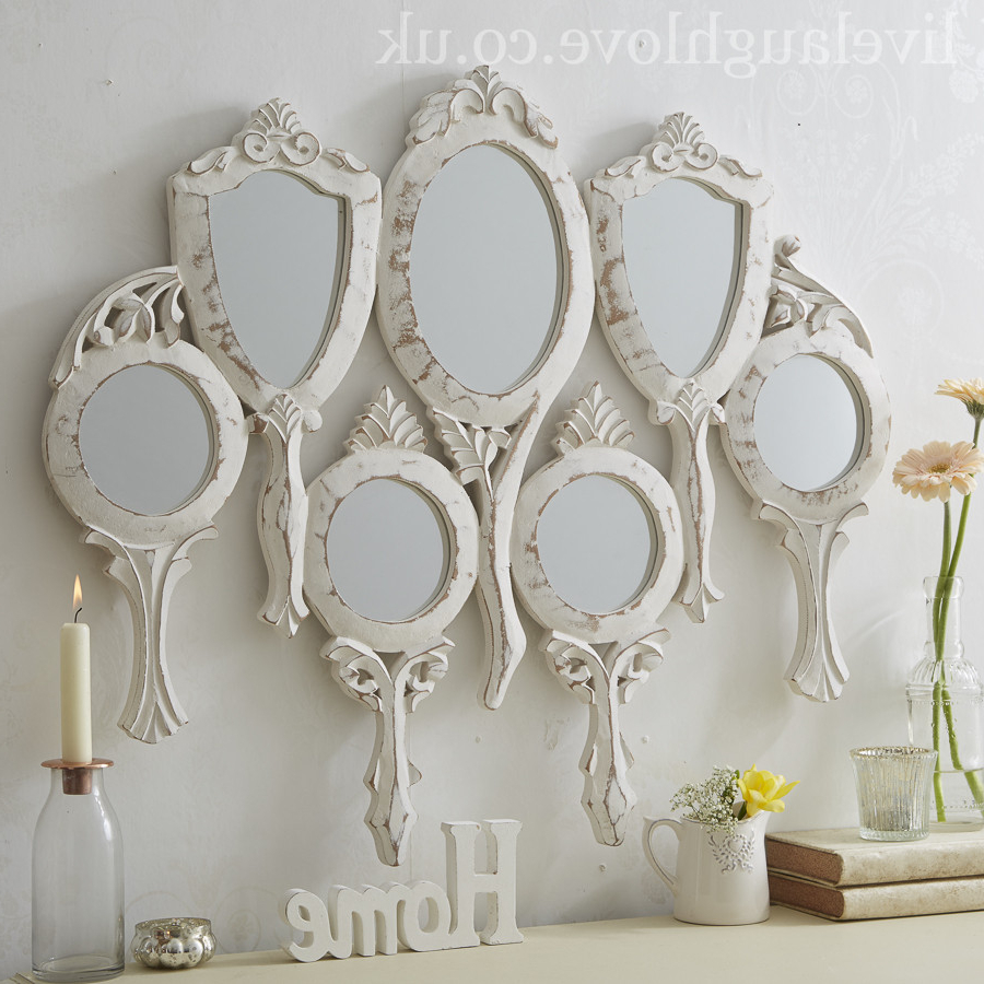 Large Decorative Wall Mirrors Inside Most Recent 7 Piece Hand Held Large Wall Mirror (View 9 of 20)