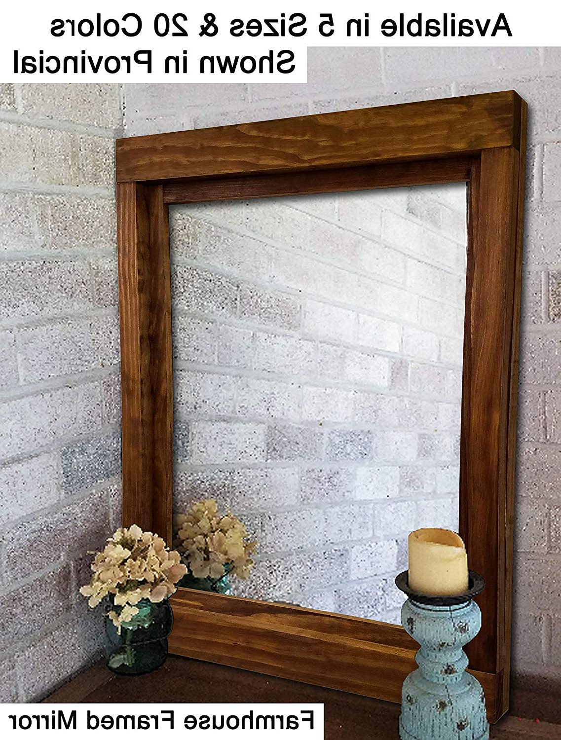 Large Framed Wall Mirrors Inside Famous Farmhouse Large Framed Mirror Available In 6 Sizes And 20 Stain Colors: Shown In Provincial – Large Wall Mirror – Rustic Style Home Decor – Housewares (View 3 of 20)