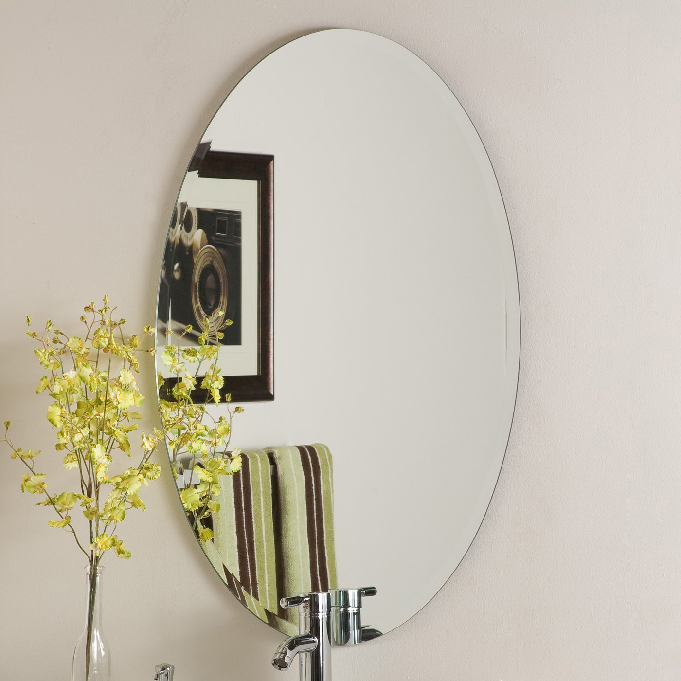 Large Frameless Wall Mirrors Throughout Latest Decor Wonderland Helmer Oval Beveled Frameless Wall Mirror (View 15 of 20)