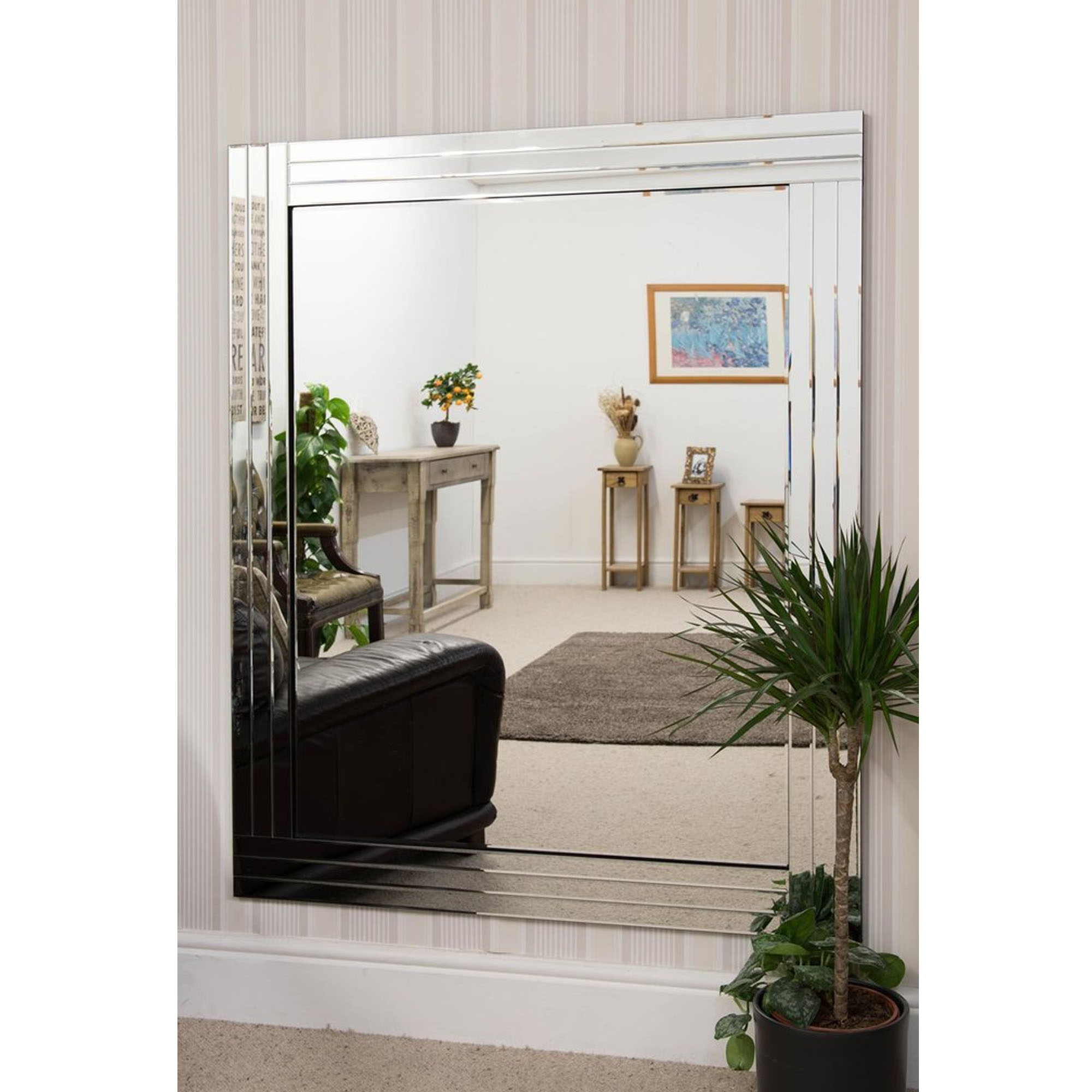 Large Frameless Wall Mirrors With Regard To Famous Overlapping Triple Bevelled Large Venetian Frameless Wall Mirror (Gallery 20 of 20)