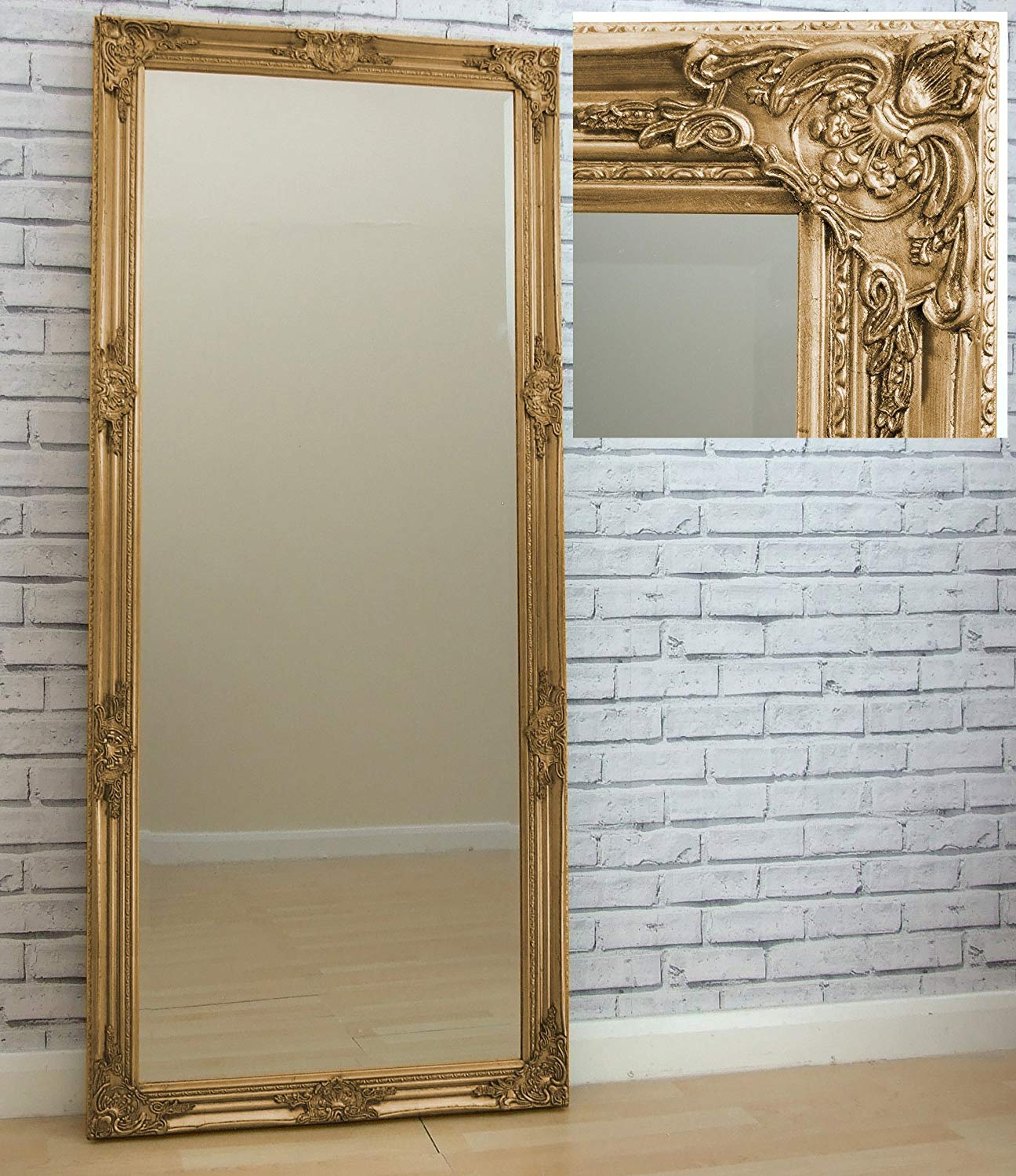 "Large Full Length Wall Mirrors Intended For Preferred Barcelona Trading Florence Large Vintage French Floor Full Length Wall  Mirror Gold 163Cm X 72Cm / 64"" X28"" (Gallery 6 of 20)"