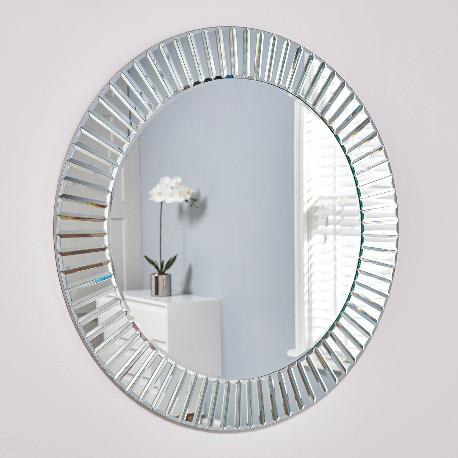Large Glass Bevelled Wall Mirrors In Well Known Round Bevelled All Glass Mirror (View 10 of 20)