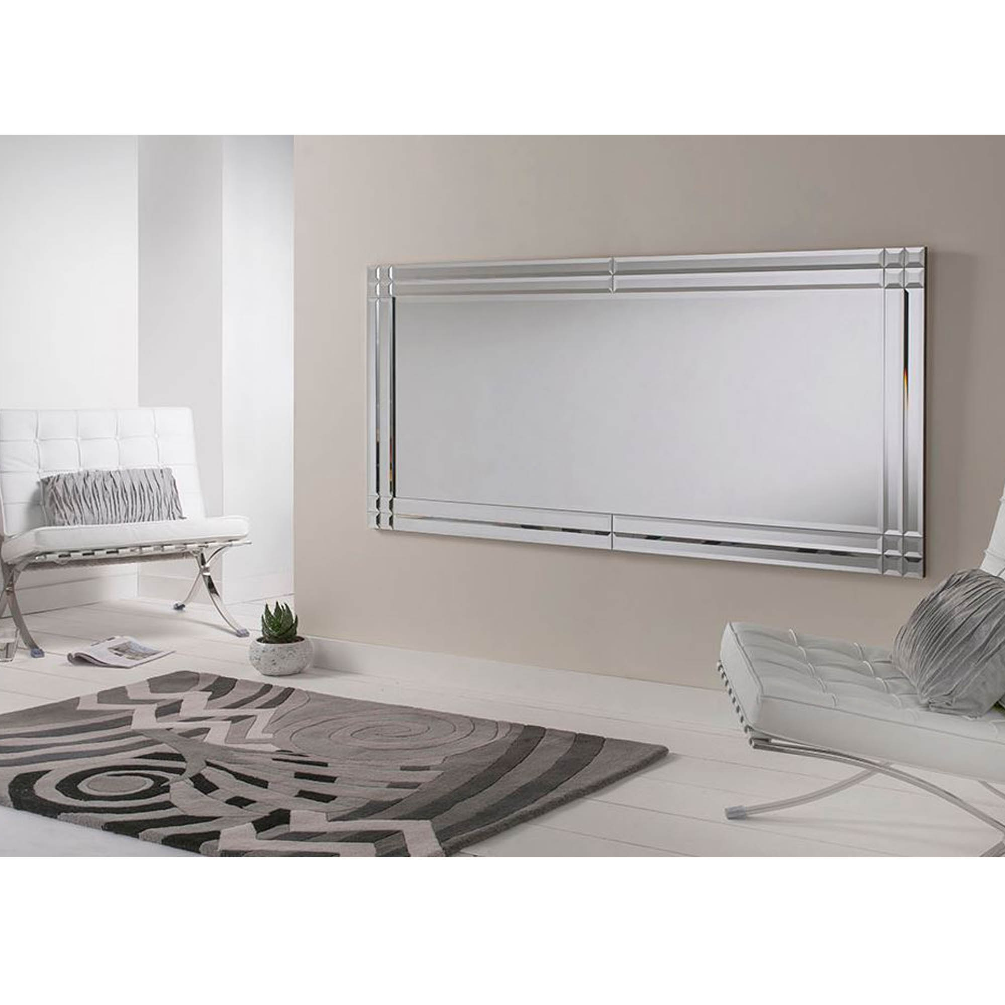 Large Glass Bevelled Wall Mirrors Regarding Widely Used Large Bevelled Rectangular Wall Mirror (View 2 of 20)