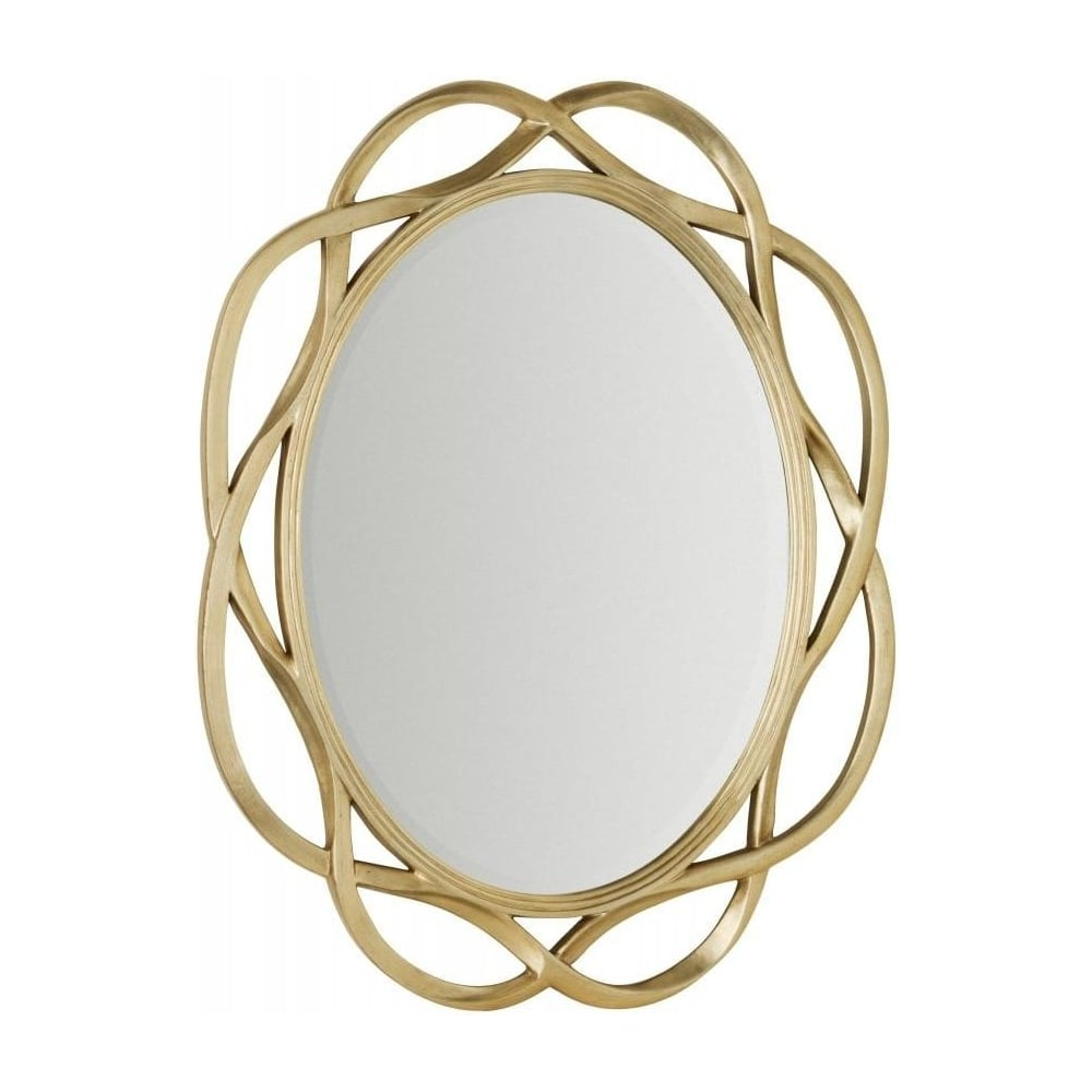 Large Gold Oval Wall Mirror With Twist Frame Within Well Liked Large Oval Wall Mirrors (View 17 of 20)