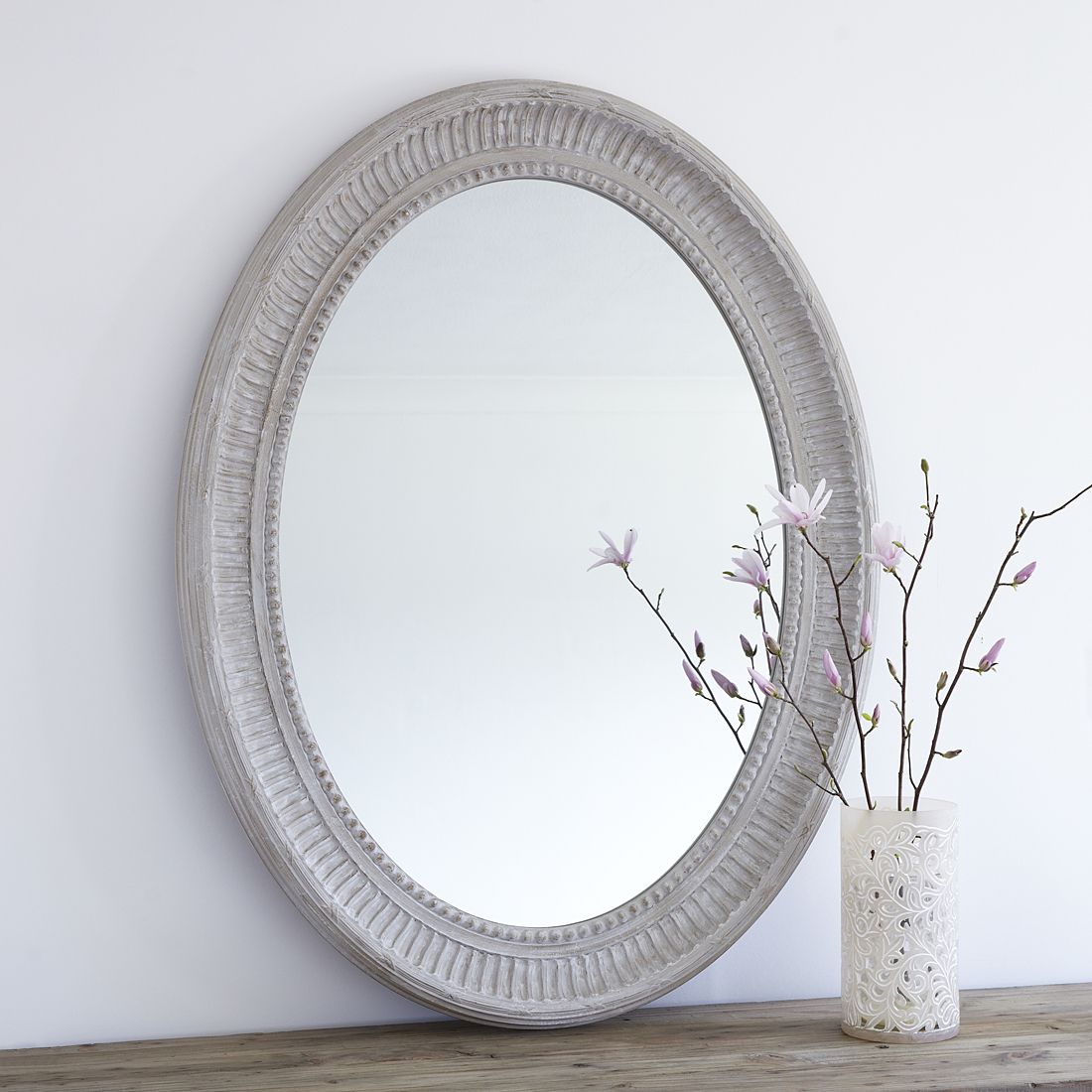 Large Grey Oval Wooden Wall Mirror Inside Trendy Large Wood Wall Mirrors (View 9 of 20)