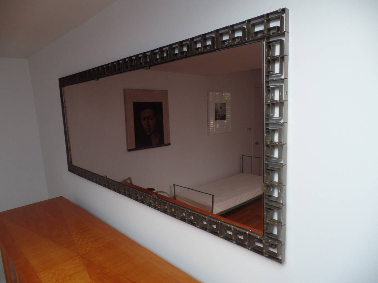 Large Italian Mid Century Modern Neoclassical Bronze Filagree Floor/ Wall  Mirror Throughout Trendy Modern Large Wall Mirrors (View 10 of 20)