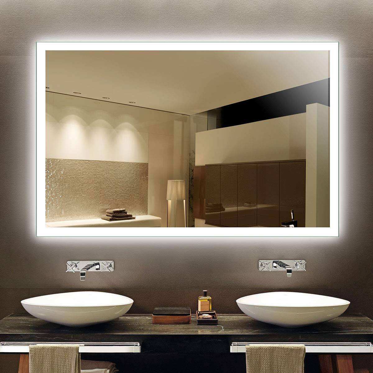Large Lighted Bathroom Wall Mirrors Intended For Most Popular Dp Home Illuminated Bathroom Large Mirror With Infrared Sensor, 55 X 36 In, Led Lighted Vanity Sink Silver Mirror Wall Mounted (e N031 Cg) (View 12 of 20)