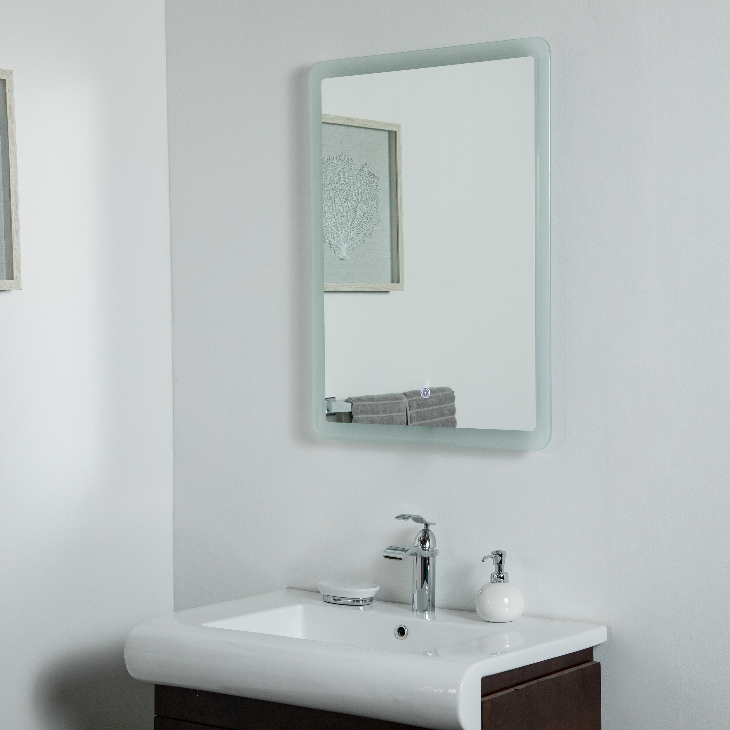 Large Lighted Bathroom Wall Mirrors Intended For Well Liked Karlstad Backlit Led Frameless Lighted Bathroom Mirror (Gallery 18 of 20)
