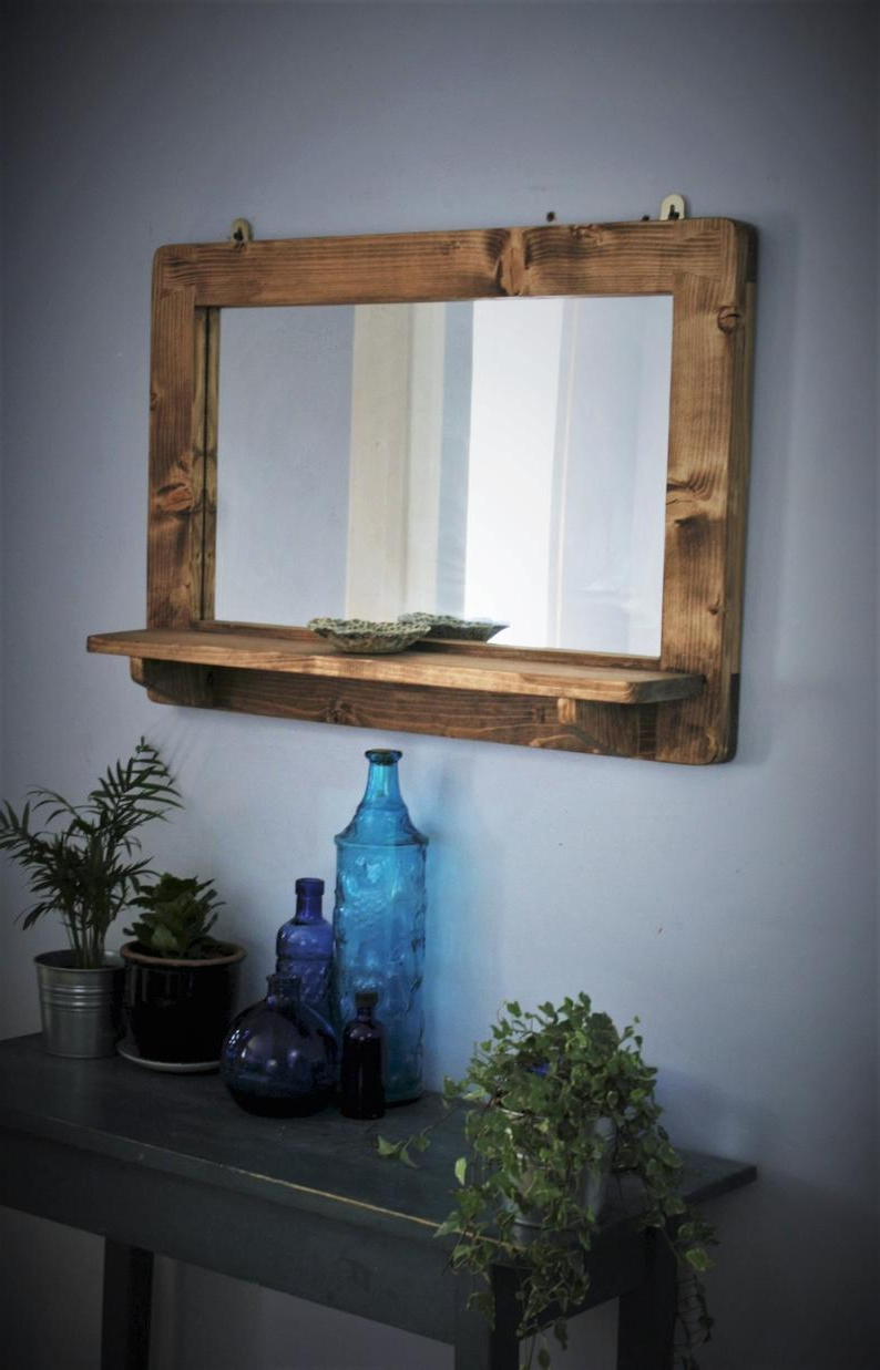Large Mirror With Shelf, Dark Wood Mirror Frame & Shelf, Real Wood Wall  Mirror, Natural Wood, Custom Handmade Modern Rustic From Somerset Uk Pertaining To Widely Used Dark Wood Wall Mirrors (View 12 of 20)