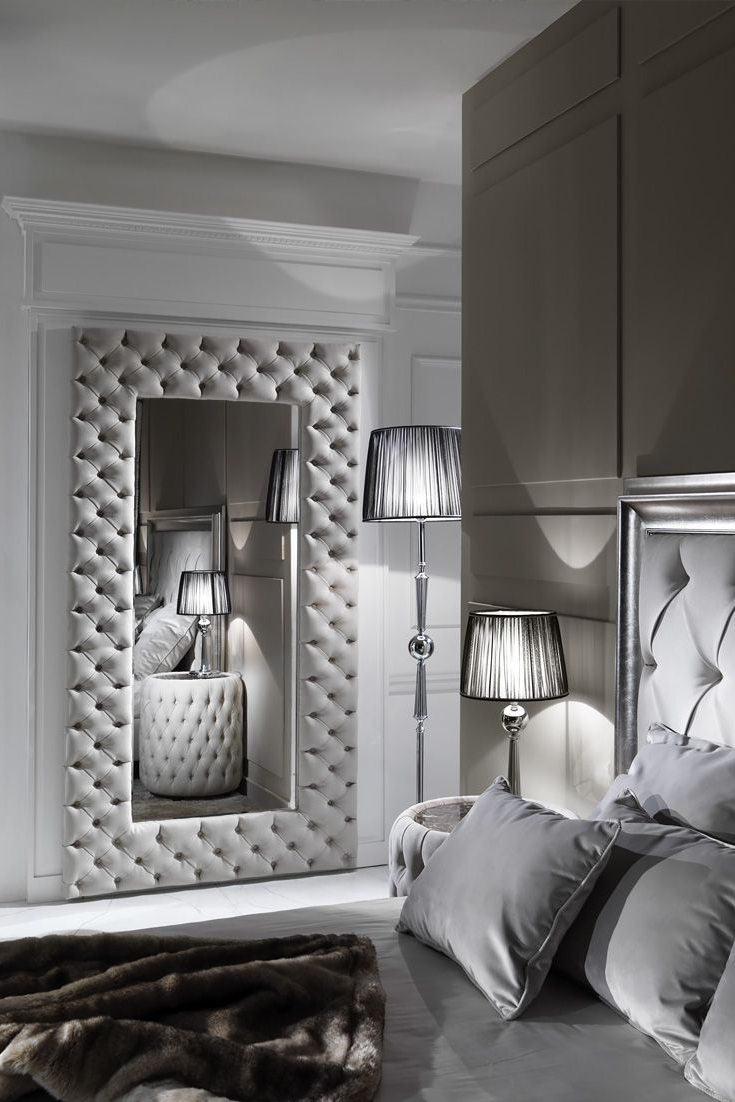 Large Modern Button Upholstered Nubuck Leather Wall Mirror (View 8 of 20)