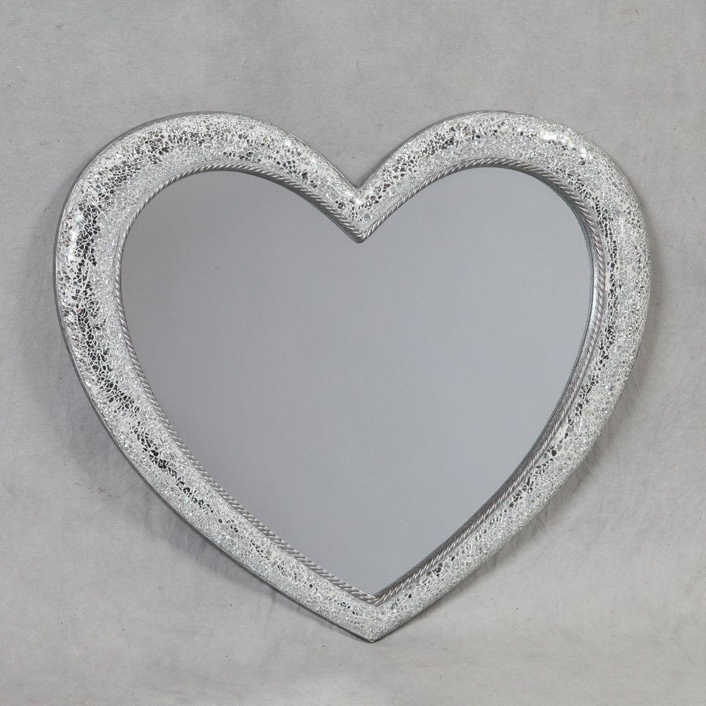 Large Mosaic Style Heart Shaped Crackle Wall Mirror Glass Pertaining To Most Recent Heart Shaped Wall Mirrors (View 14 of 20)