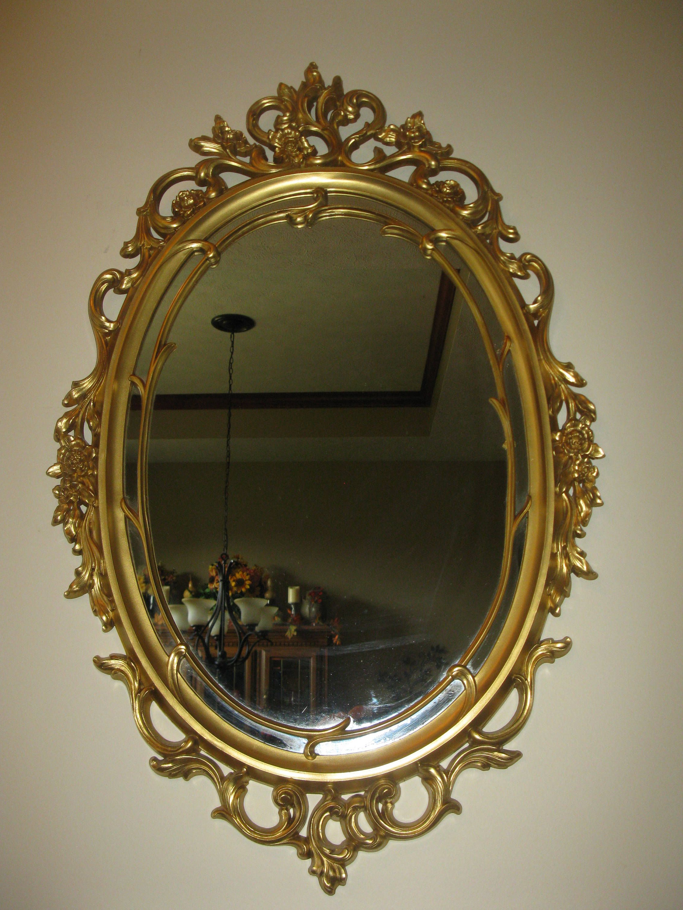 "Large Ornate Syroco Wall Mirror  Oval Shape – Plastic Framed 29"" X In Favorite Derick Accent Mirrors (View 11 of 20)"