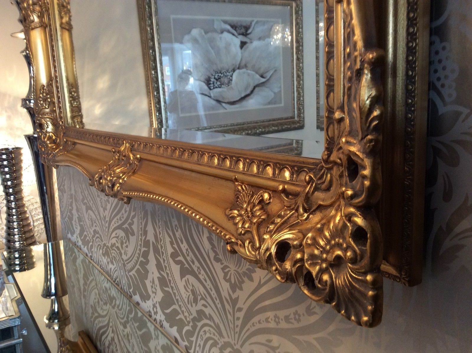 Large Ornate Wall Mirrors With Regard To Widely Used X Large Antique Gold Shabby Chic Ornate Decorative Wall Mirror Free Postage (Gallery 14 of 20)