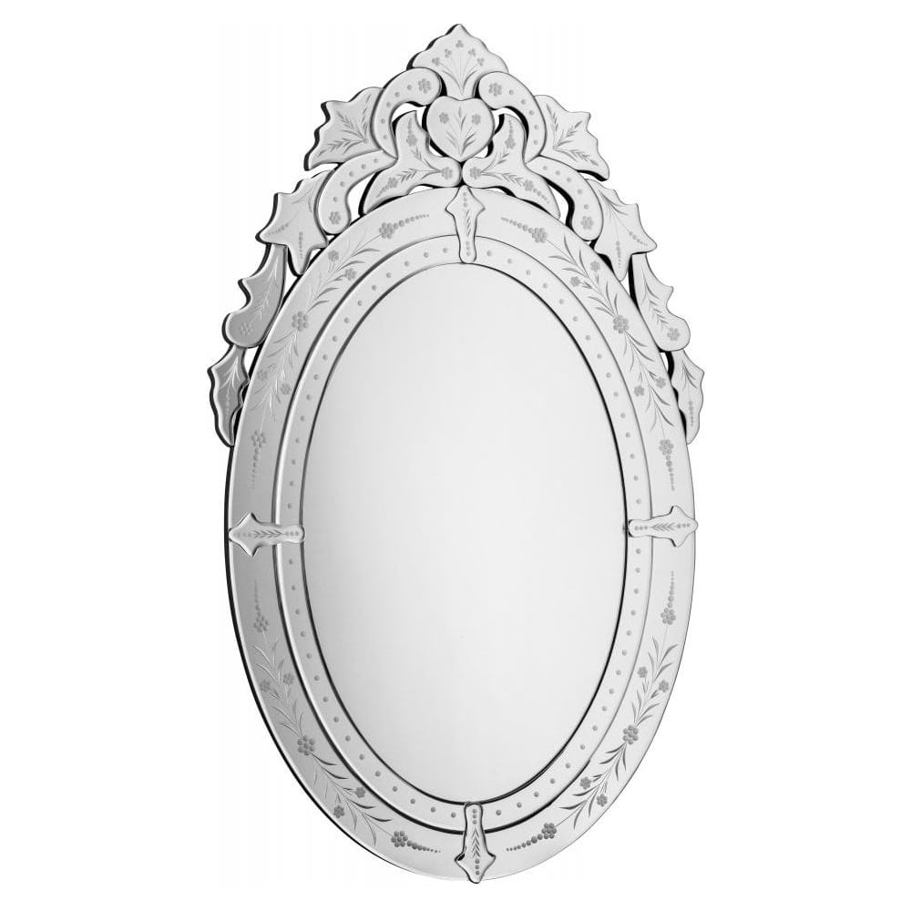 Large Oval Wall Mirrors Intended For Most Current Large Oval Vintage Wall Mirror With Etched Detailing (View 6 of 20)