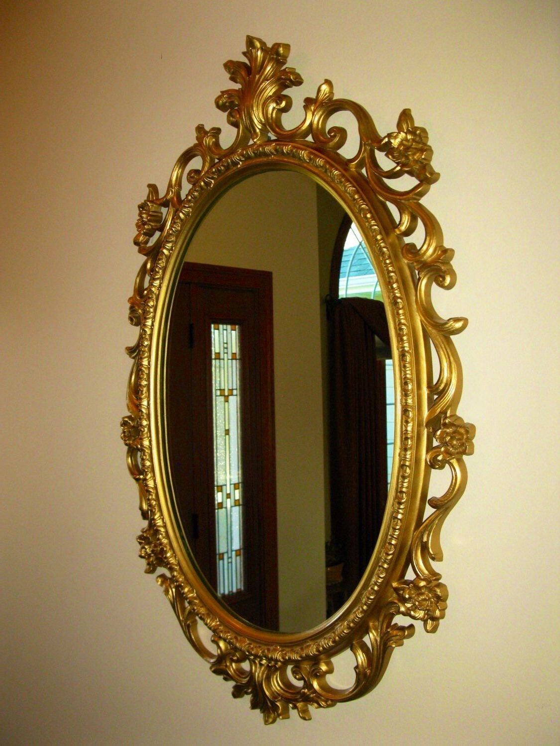 Large Plastic Wall Mirrors Within Well Known Large Homco Wall Mirror – Vintage – Oval 29x19 Gold Frame (View 12 of 20)
