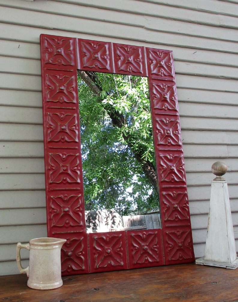 "Large Red Wall Mirror, 35 1/2"" Long, Antique Ceiling Tin Tile Mirror, Architectural Salvage Wall Decor, Handmade Metal Mirror With Regard To Popular Large Red Wall Mirrors (View 2 of 20)"