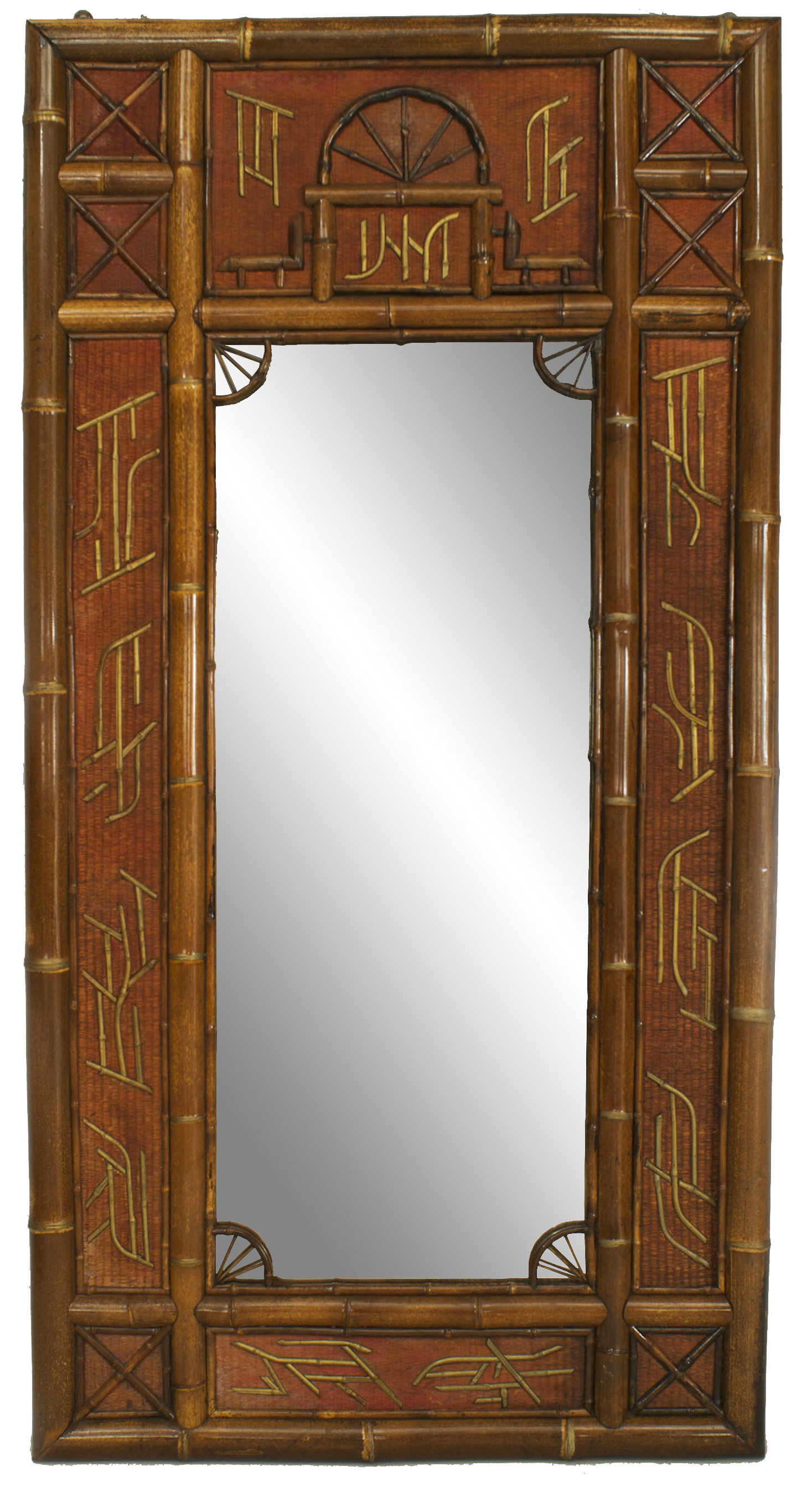 Large Red Wall Mirrors Inside 2020 English Victorian Bamboo And Rush Wall Mirror (View 18 of 20)