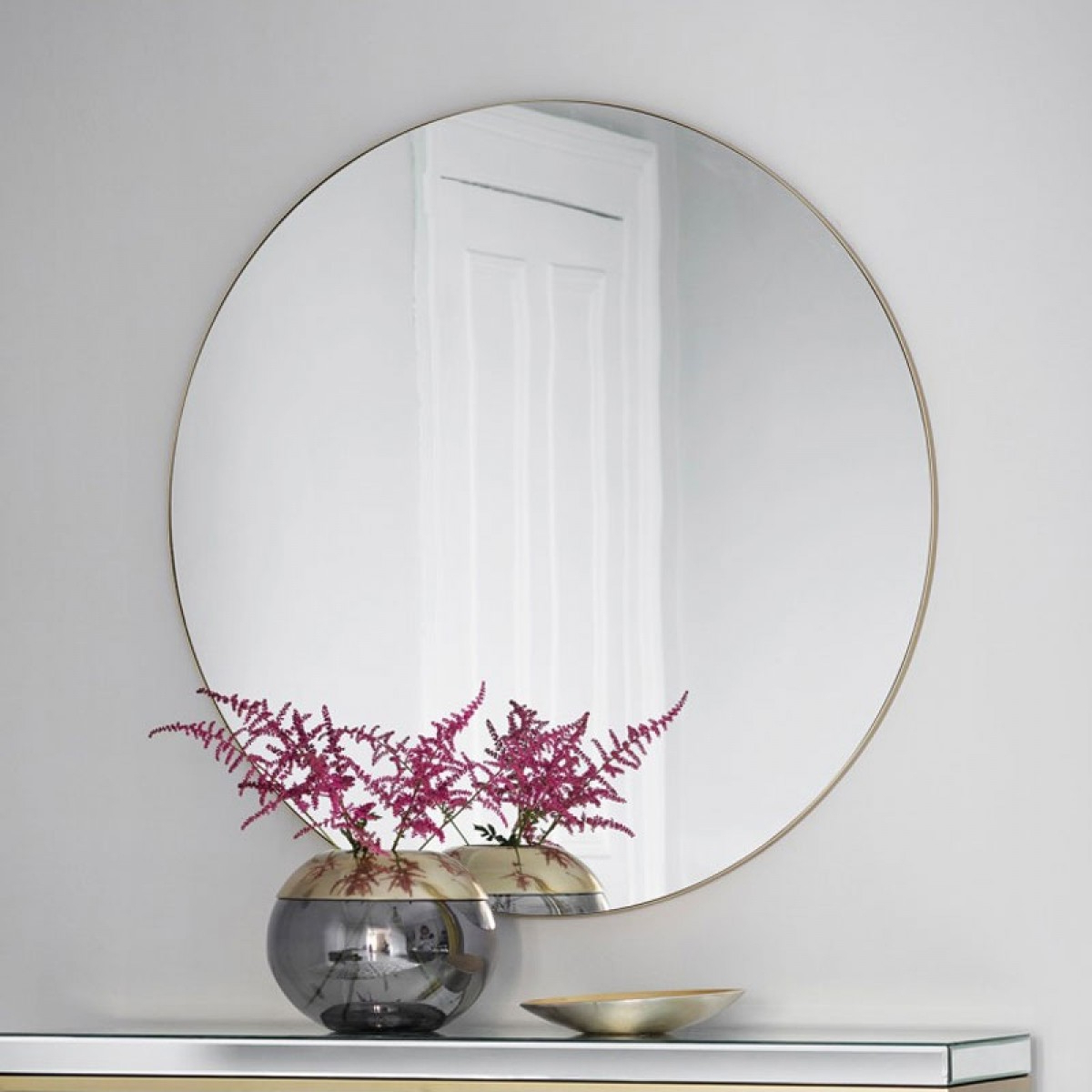 Large Red Wall Mirrors With Regard To Preferred Large Round Champagne Mirror – 100cm (View 15 of 20)