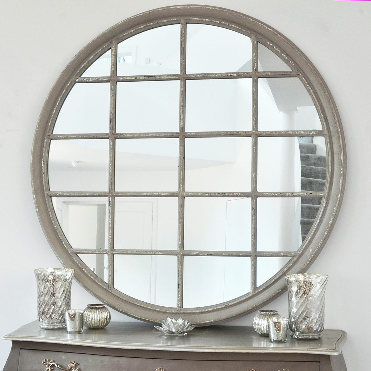 Large Round Grey Window Wall Mirror Intended For Newest Round Wood Wall Mirrors (View 8 of 20)