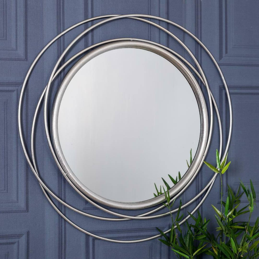 Large Round Silver Wall Mirror Swirl Modern Hallway Bedroom Home With Well Known Swirl Wall Mirrors (View 16 of 20)