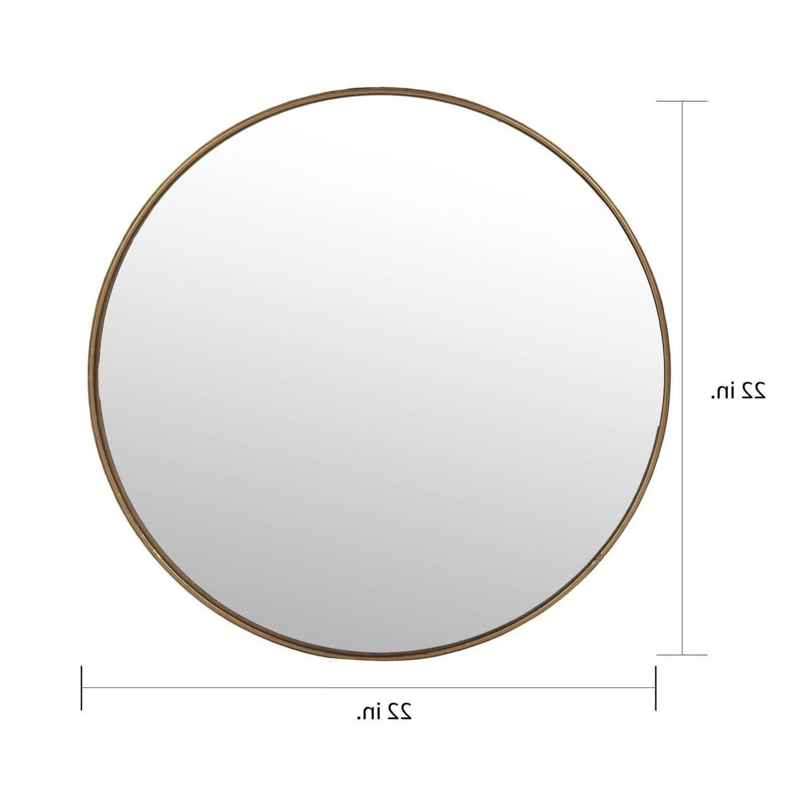 Large Round Wall Mirror Gold Frame Wall Mounted Vertical Orientation 15'' 32'' H Throughout Popular Vertical Round Wall Mirrors (Gallery 7 of 20)