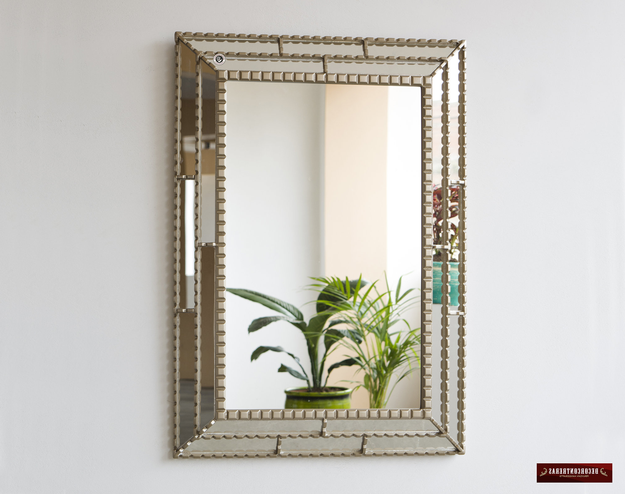 "Large Silver Framed Wall Mirror Inside Most Current Silver Decorative Accent Wall Mirror, ""treasure Inka"", Bathroom Large Mirror For Wall Decor, Decorative Peruvian Wall Mirror For Living Room (View 19 of 20)"