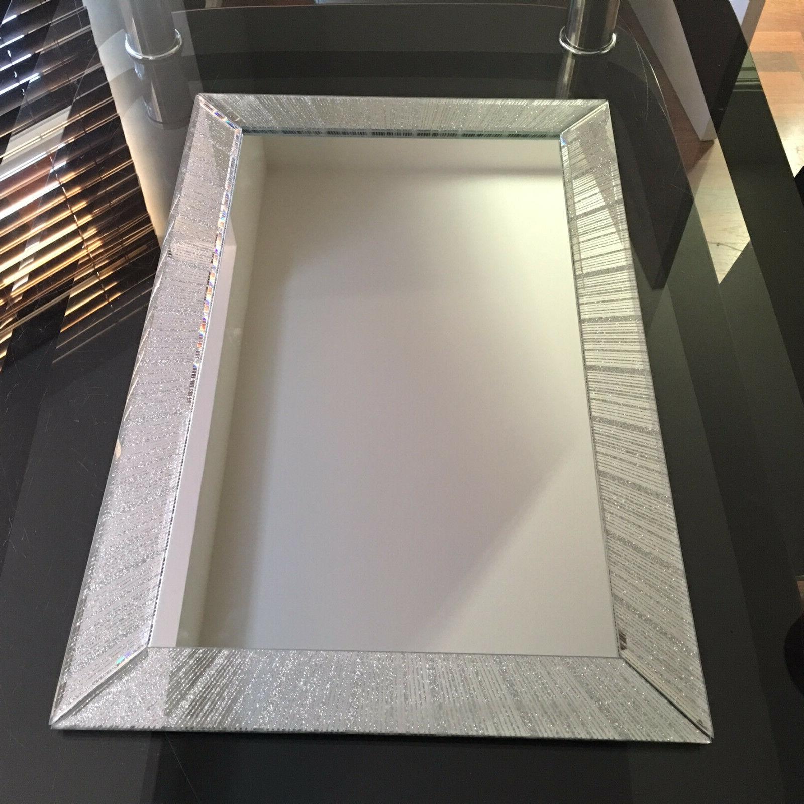 Large Silver Glitter Sparkle Wall Mirror Girls Room Bathroom Regarding Popular Glitter Wall Mirrors (Gallery 14 of 20)