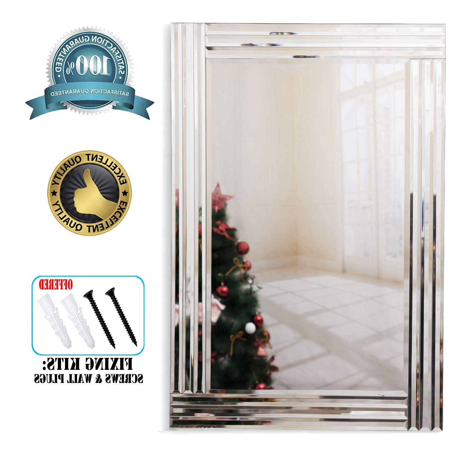 Large Silver Wall Mirrors Regarding Famous Richtop Wall Mirror Triple Bevelled Edges Rectangle Large Silver Wall  Mounted Mirror For Living Room, Hallway,office(90X60Cm) (View 8 of 20)
