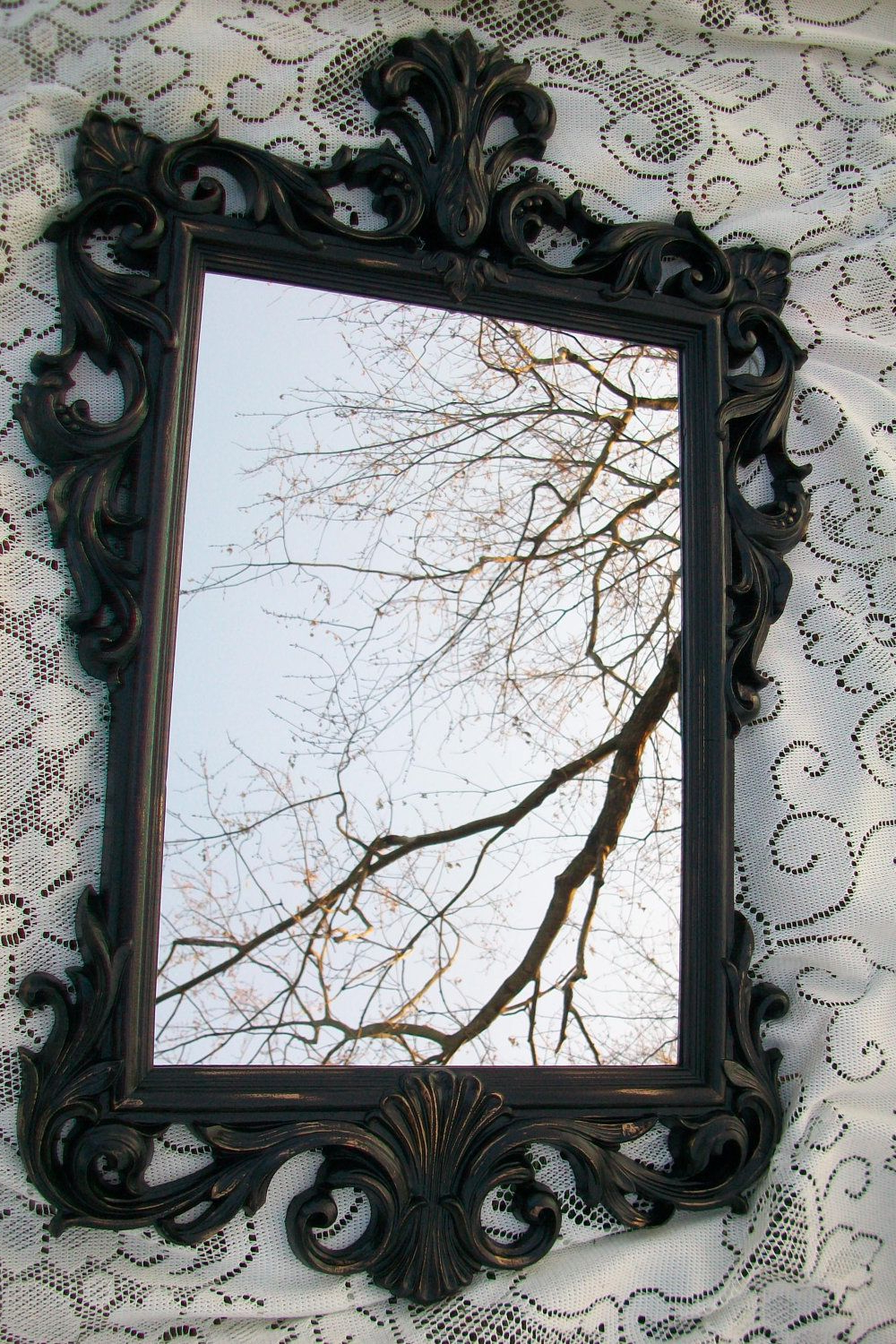 Large Vintage Wall Mirrors With Current Large Vintage Mirror, Black Mirror, Ornate Mirror, Gothic (View 10 of 20)