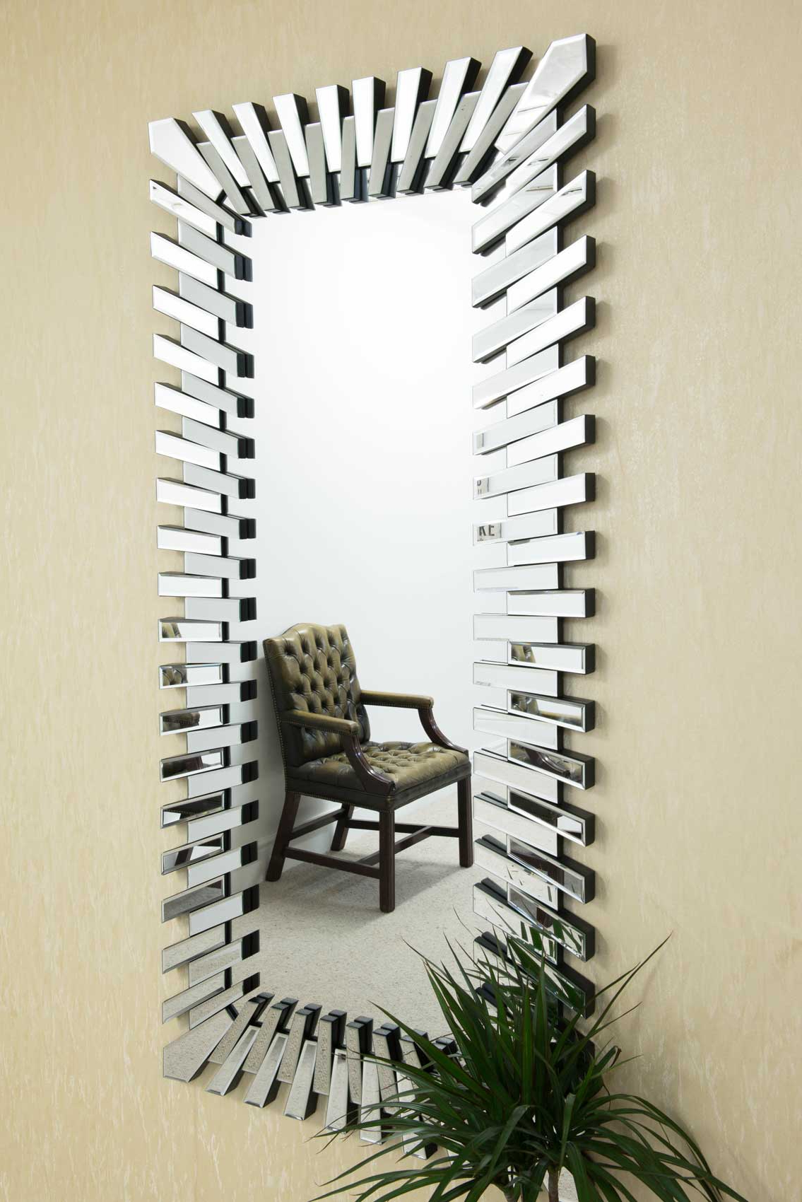 Large Wall Mirror Modern Unique 3D Sunburst All Glass Venetian Rectangular For Well Known Modern Wall Mirrors (View 8 of 20)