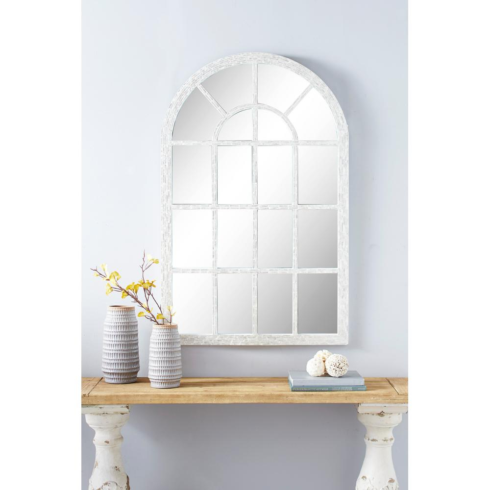 Large Wall Mirrors With Frame With Newest Litton Lane Large Cathedral Window Wall Mirror Ft. Pearl Shell (Gallery 14 of 20)