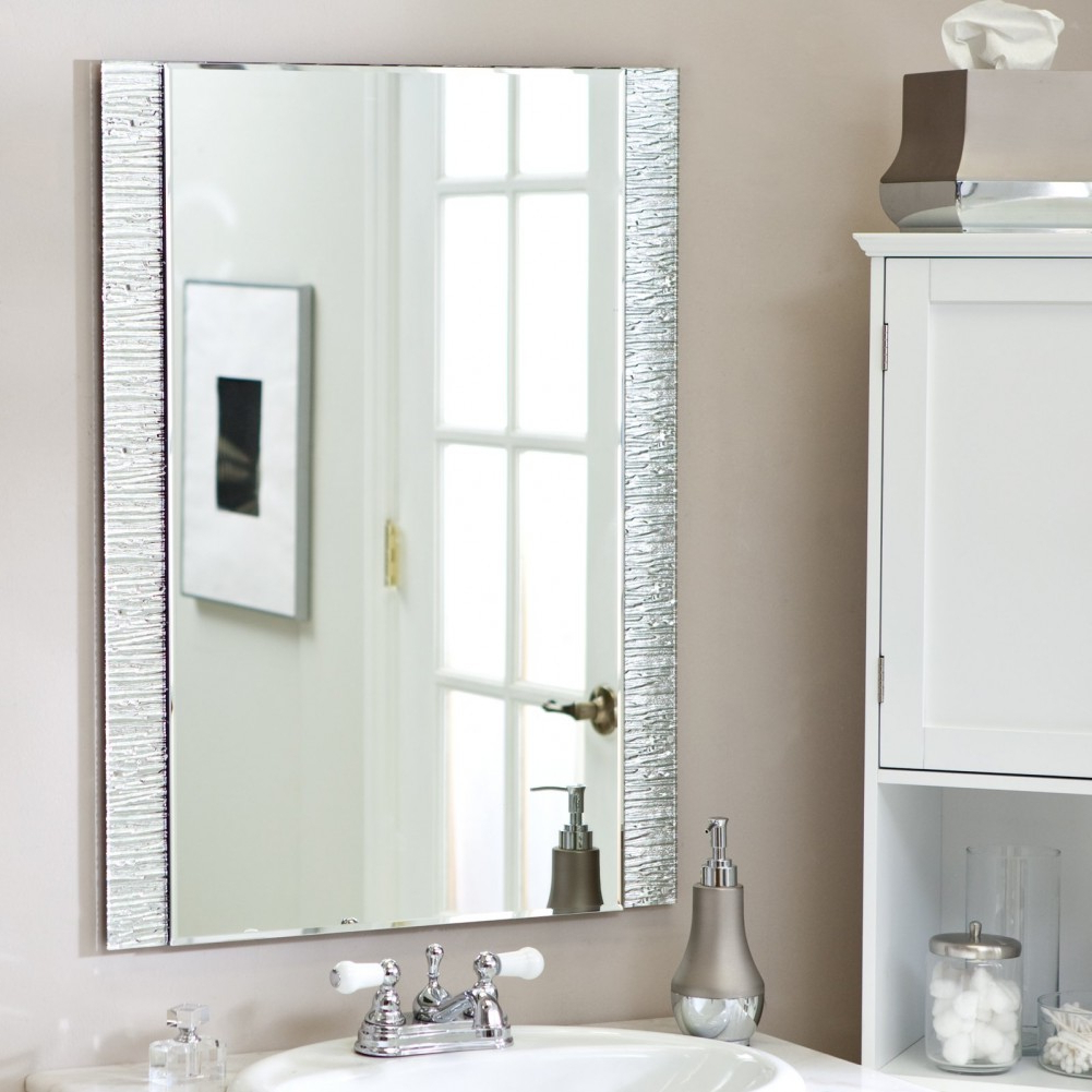 Large Wall Mirrors Without Frame In Most Current Gray Wall Paint Mirror Without Any Frame White Bathroom Wardrobe (Gallery 8 of 20)