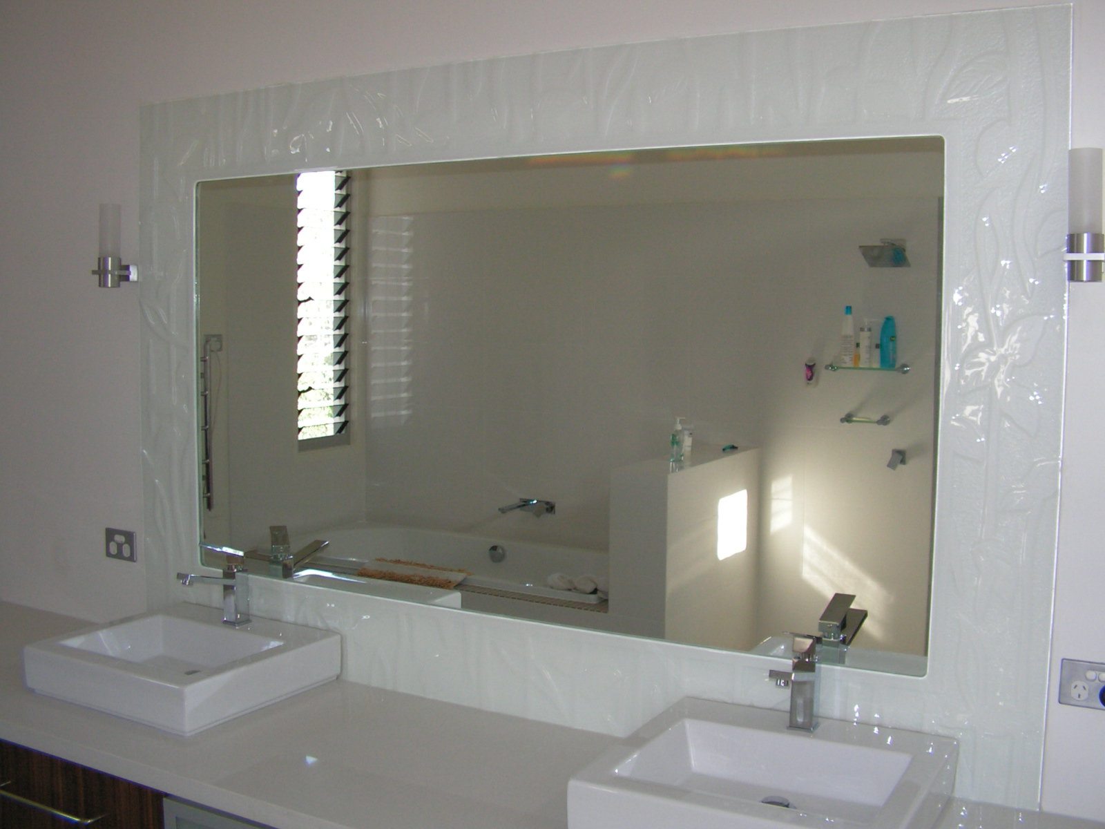Large Wall Mirrors Without Frame Regarding Favorite White Wall Paint Large Mirror Without Frame Granite Countertop (Gallery 4 of 20)