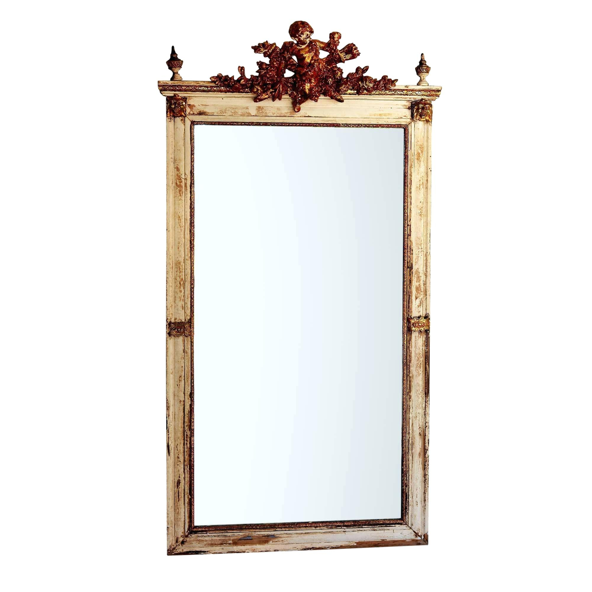 Large White Framed Wall Mirrors Pertaining To Favorite White Frame Wall Mirror Antique Large Cherub Detail Creamy (View 14 of 20)