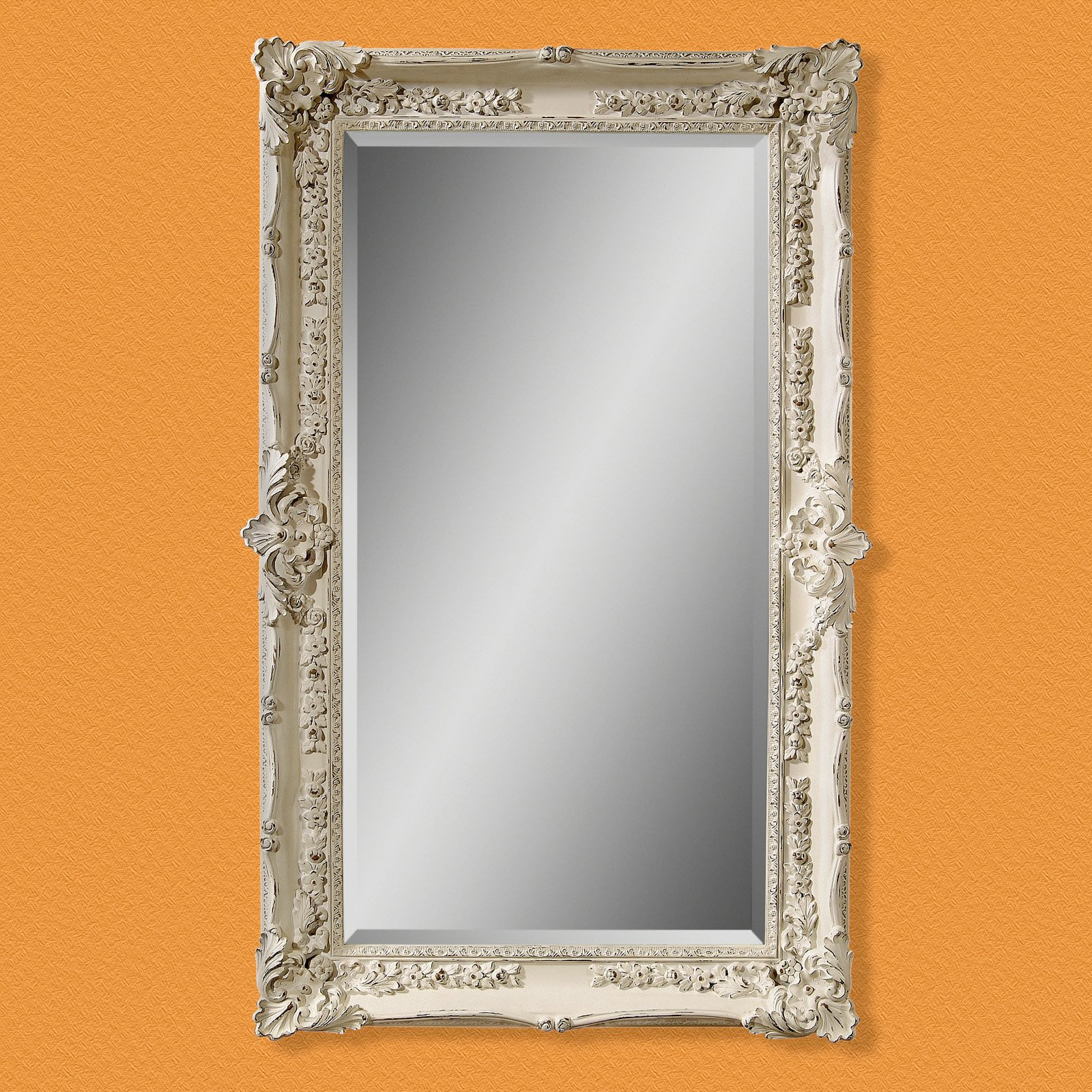 Large White Framed Wall Mirrors Pertaining To Popular Bathro Mirror Large Whitewash White Interior Wall Mirrors (View 12 of 20)