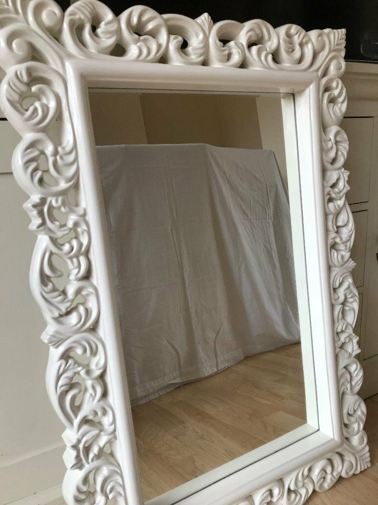 Large White Ornate Wall Mirror (View 11 of 20)