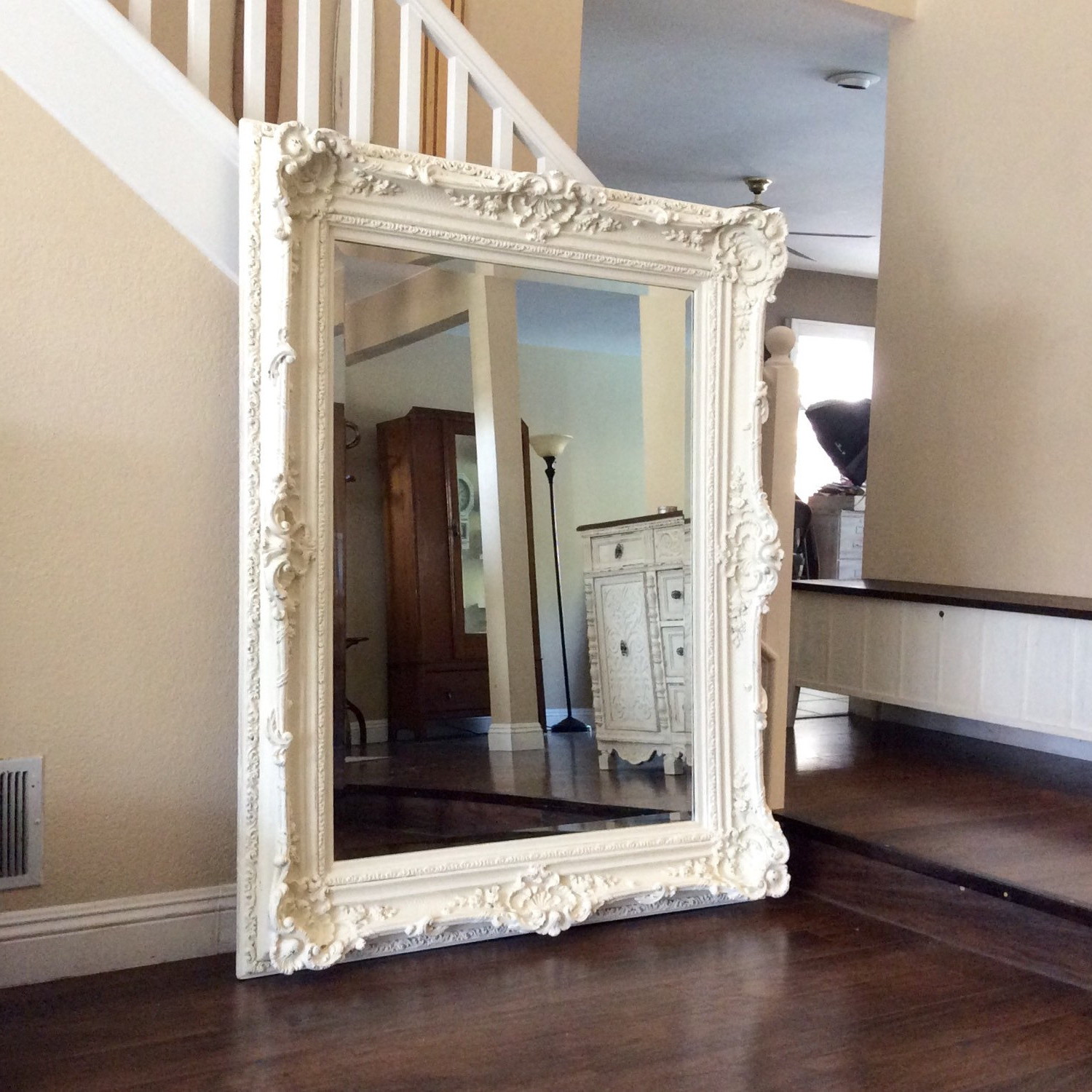 Large White Wall Mirrors Regarding 2020 Ornate Mirror For Sale Large White Shabby Chic Wall Bathroom (View 11 of 20)