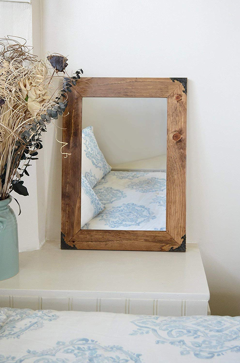 Large Wood Wall Mirrors Within Most Recent Amazon: Wooden Mirror With Metal Corners – Wall Mirror (Gallery 11 of 20)