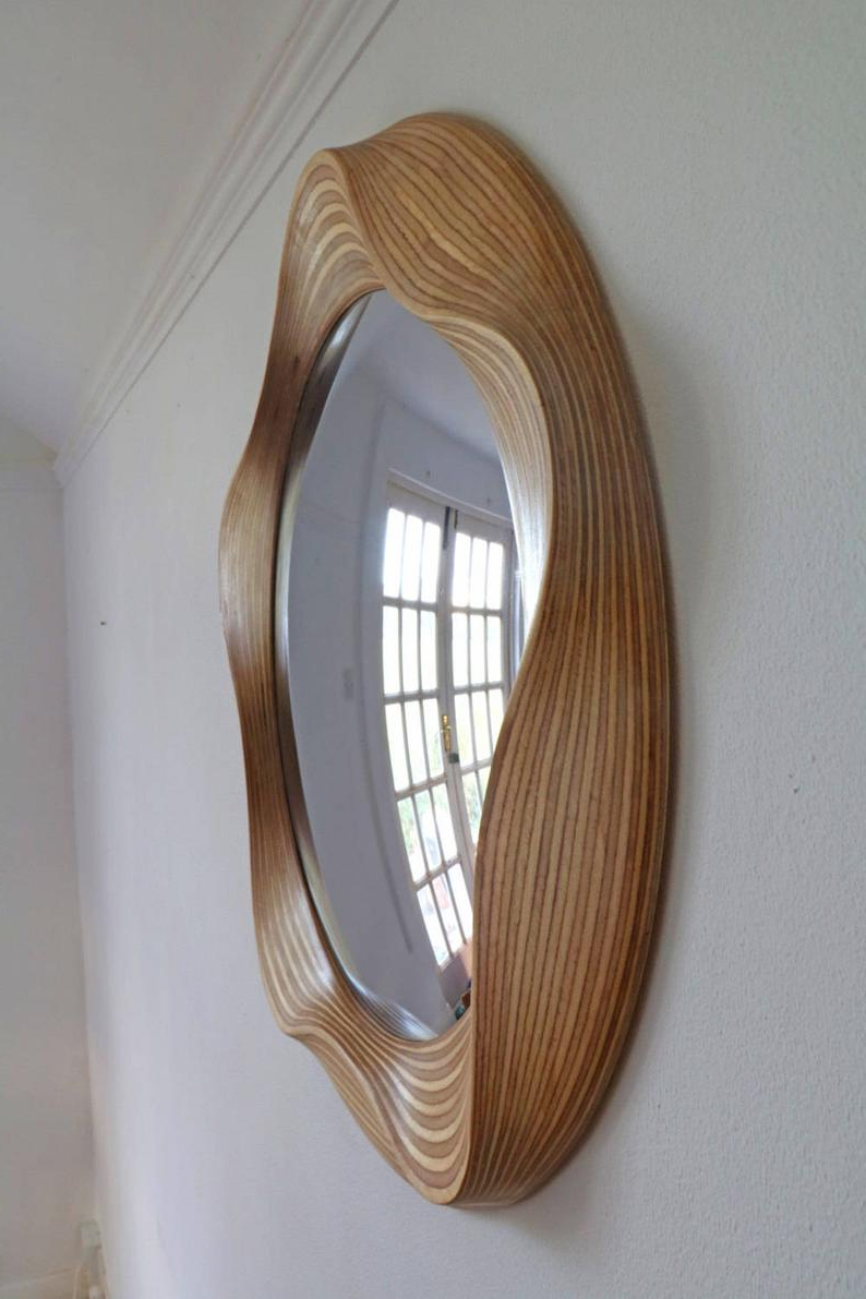Large Wooden Wall Mirrors In Best And Newest Convex Mirror – Large Convex Mirrors – Round Mirror – Bathroom Mirror – Wooden Mirror – Wall Mirror – Big Mirror – Round Convex Mirror (View 17 of 20)