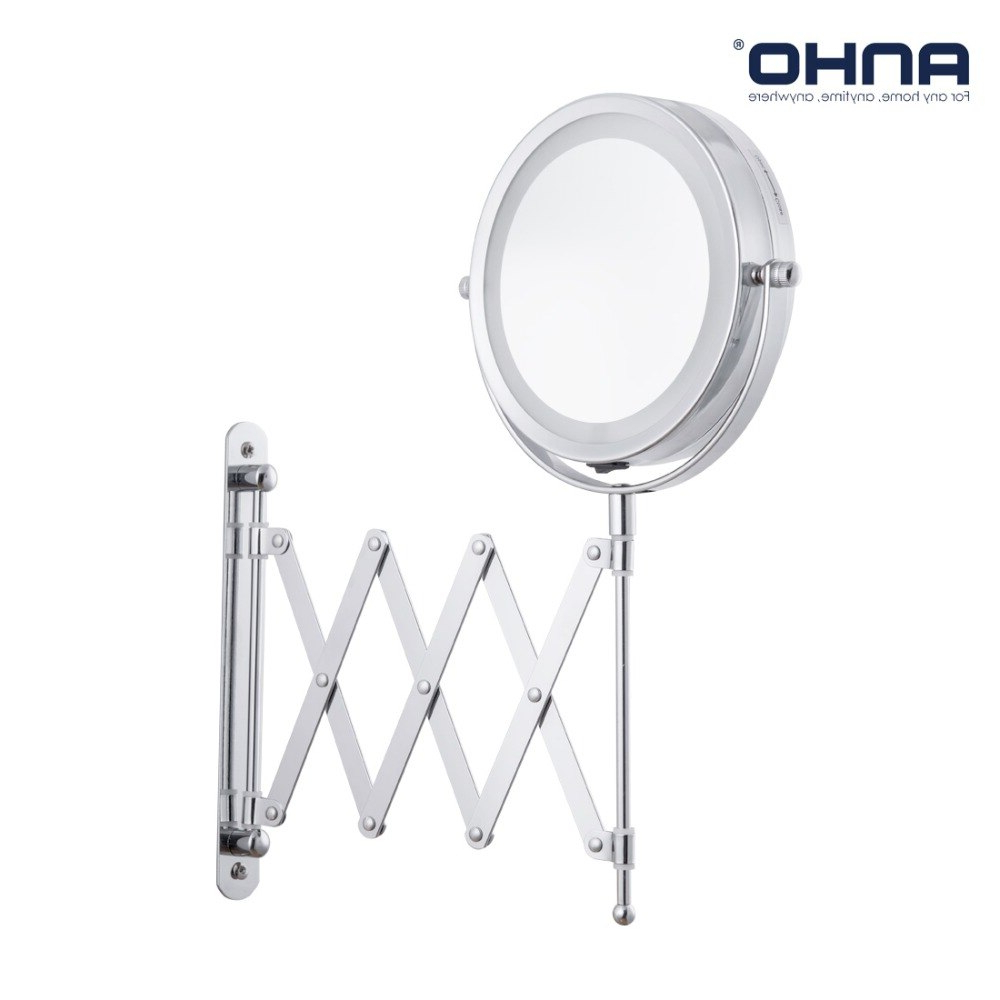 Latest Adjustable Wall Mirrors With Regard To Anho Bath Led Makeup Mirror 6 Inch 1X/5X Arm Magnification Wall Mounted  Adjustable Cosmetic Mirror Dual Arm Extend 2 Face Mirror In Bath Mirrors  From (Gallery 8 of 20)