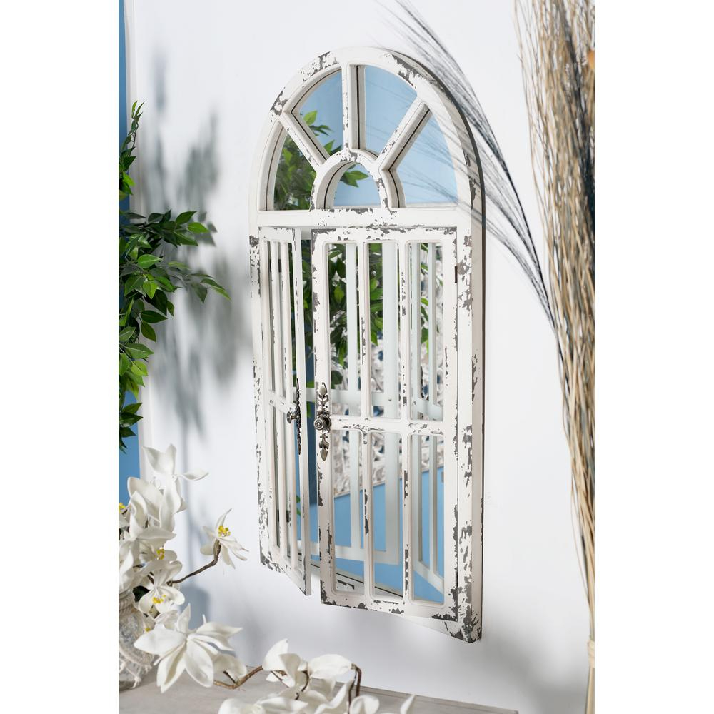 Latest Arch Wall Mirrors Pertaining To Litton Lane Arched Window Distressed White Decorative Wall Mirror (View 14 of 20)