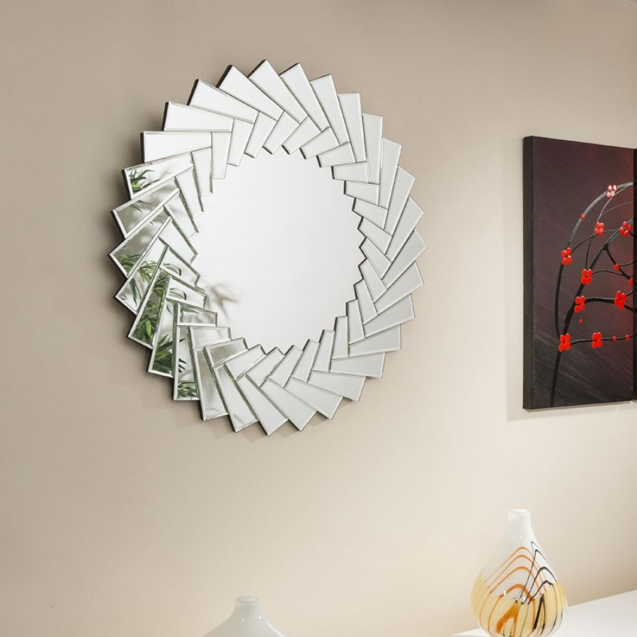 Latest Beautiful Modern Round Wall Mirror / Art /picture Jagged Edge 90Cm Dia Inside Modern Round Wall Mirrors (View 7 of 20)
