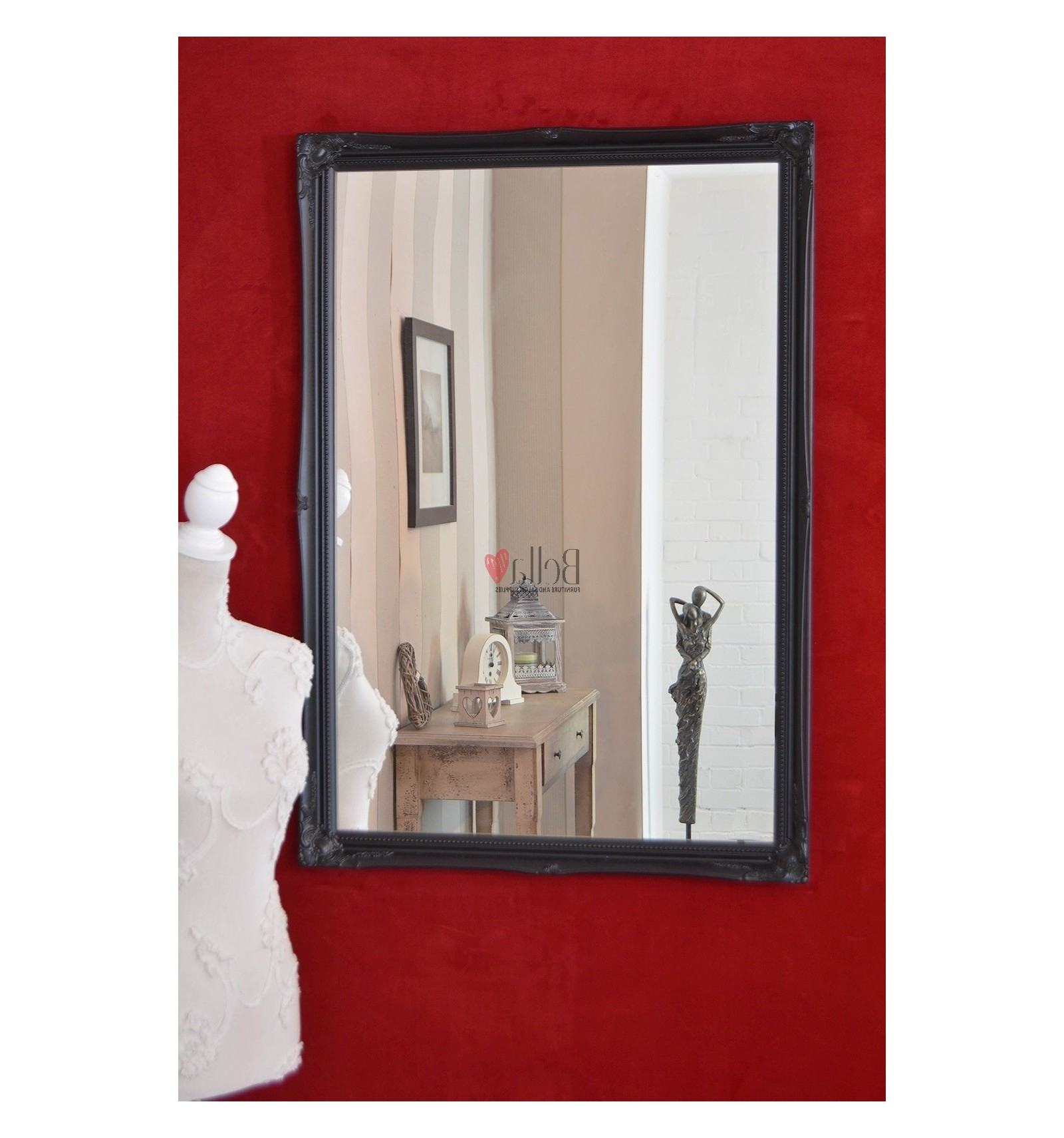 Latest Black Large Antique Wall Mirror Within Large Red Wall Mirrors (View 13 of 20)